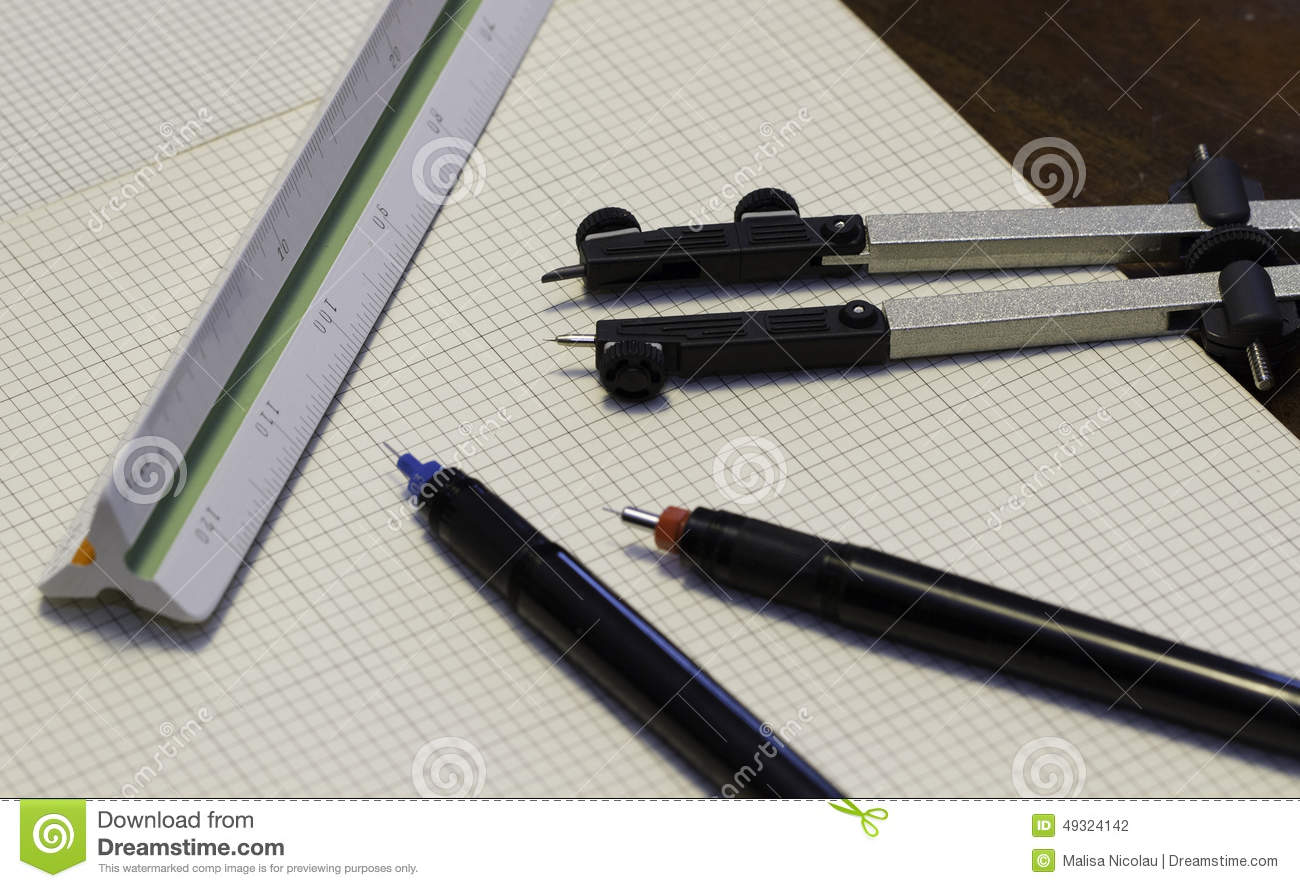 Drafting tools stock photo image of light technical for Architecture drawing tools