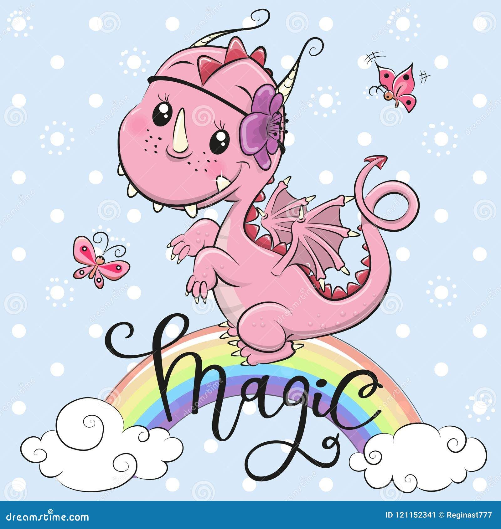 Dragão bonito dos desenhos animados em um fundo azul
