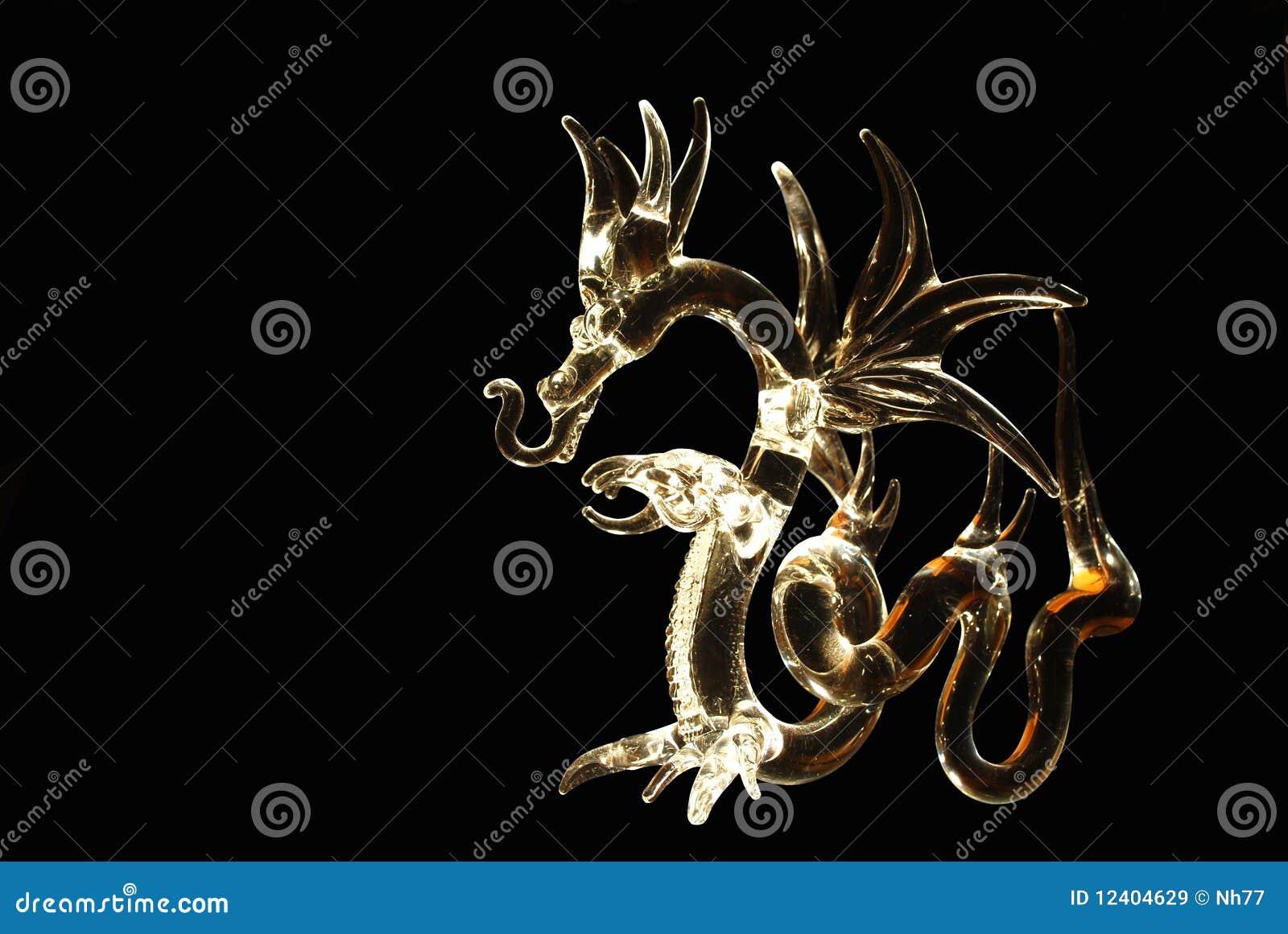 Dragão de vidro iluminado