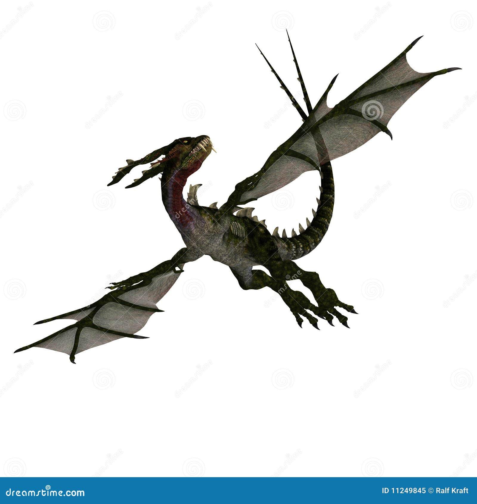 Dragão estarrecente gigante com asas e chifres