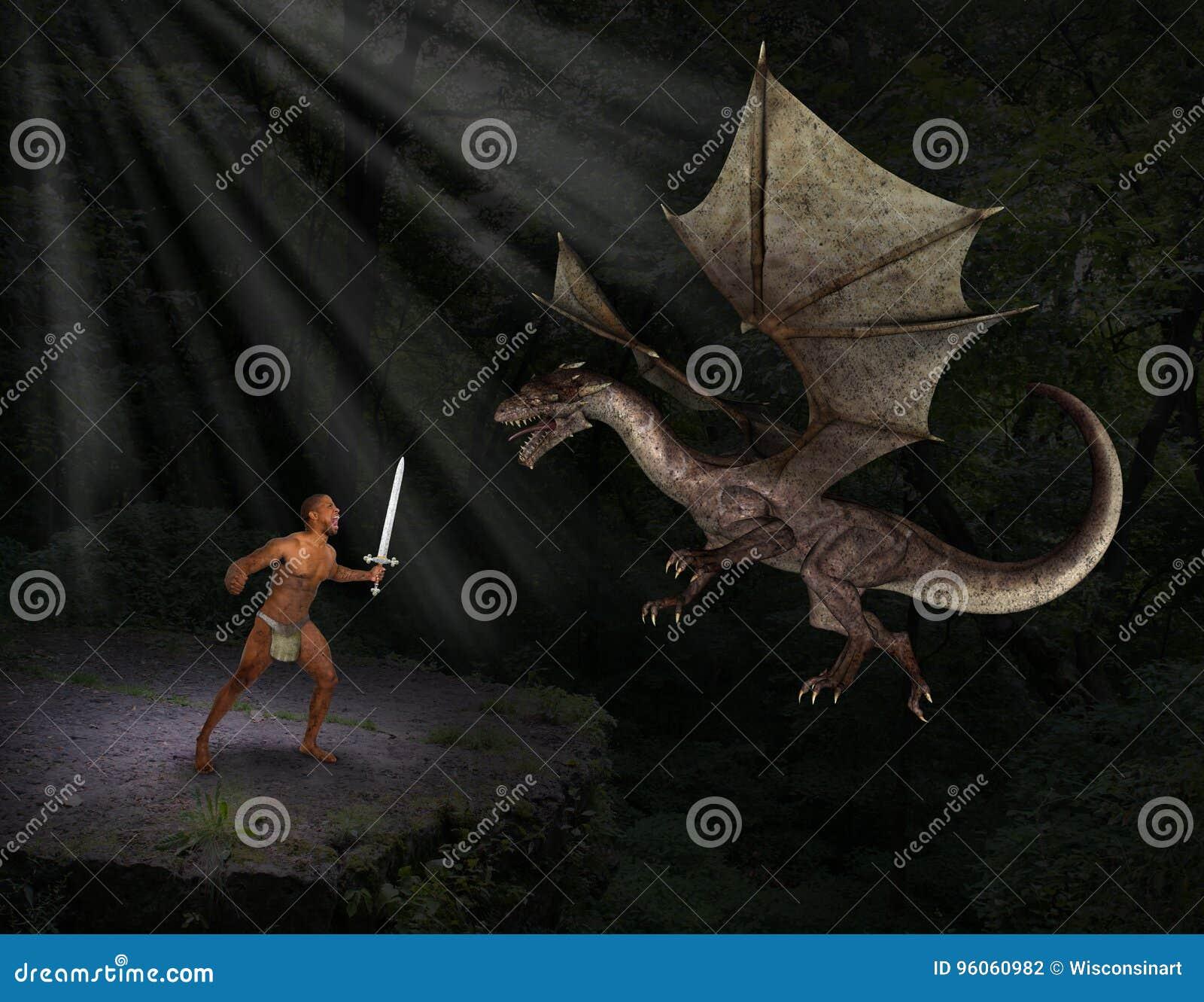 Dragão nativo do mal da batalha do homem