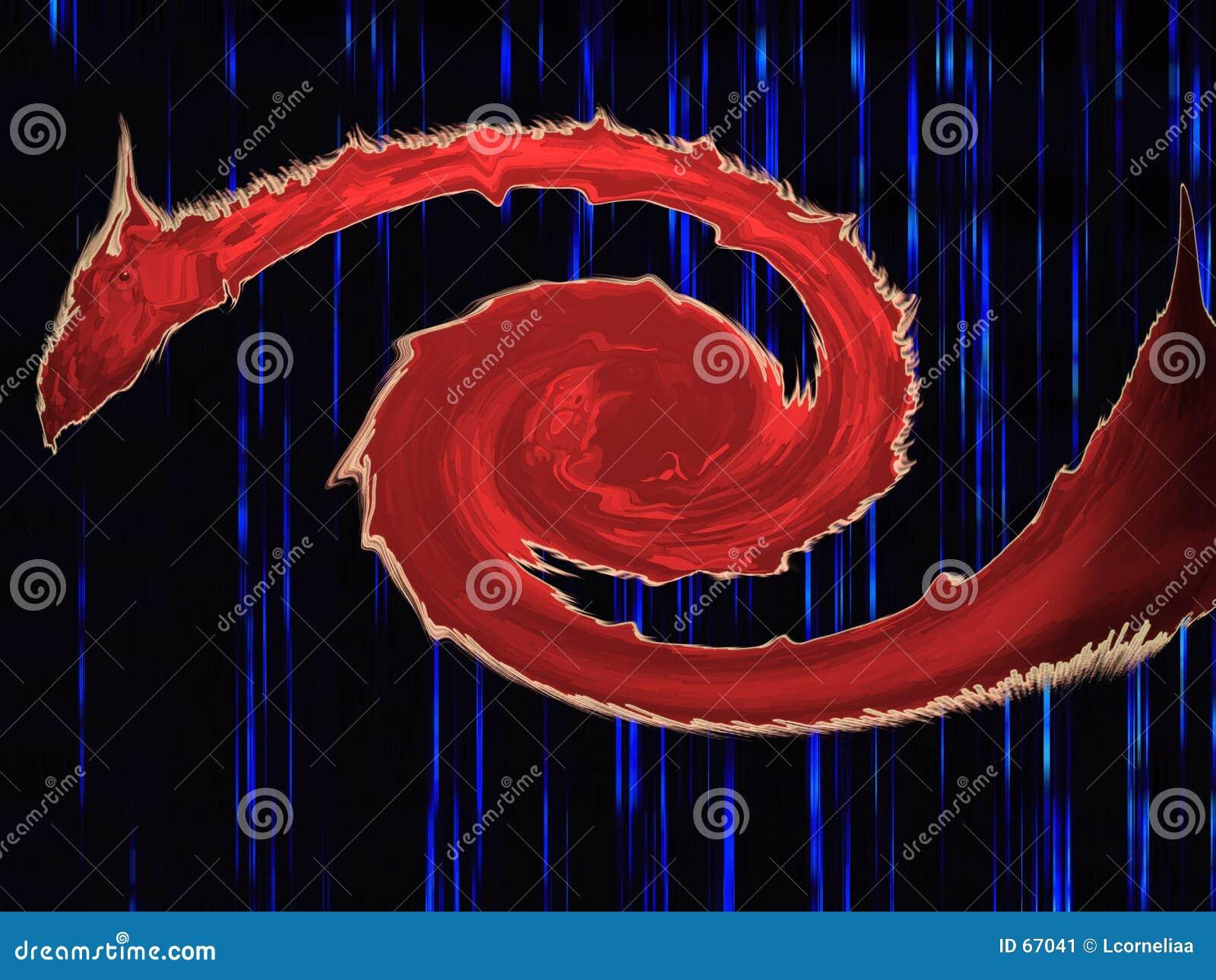 Dragão vermelho do olho
