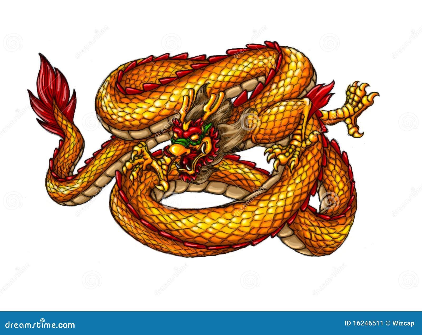 Dragón Antiguo Chino Del Estilo Ilustración Del Vector Ilustración