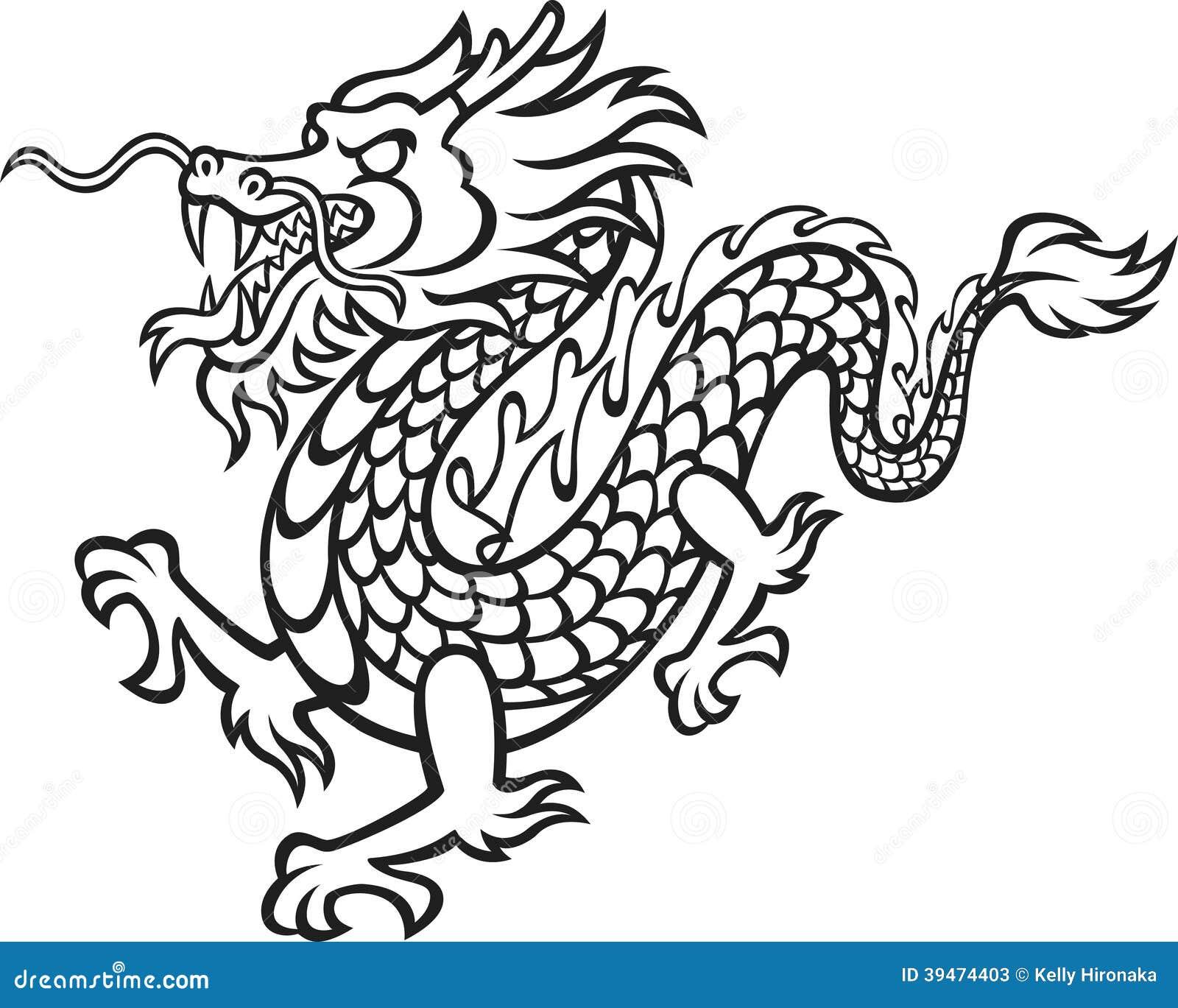 Dragón Blanco Y Negro Ilustración Del Vector Ilustración De Furioso