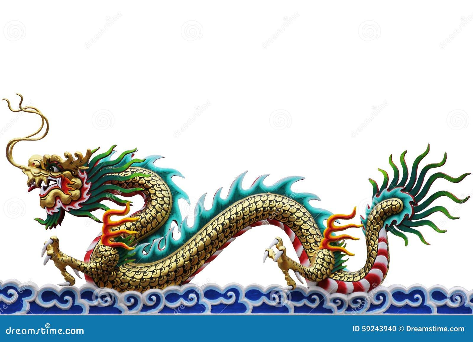Dragón chino colorido en el fondo blanco