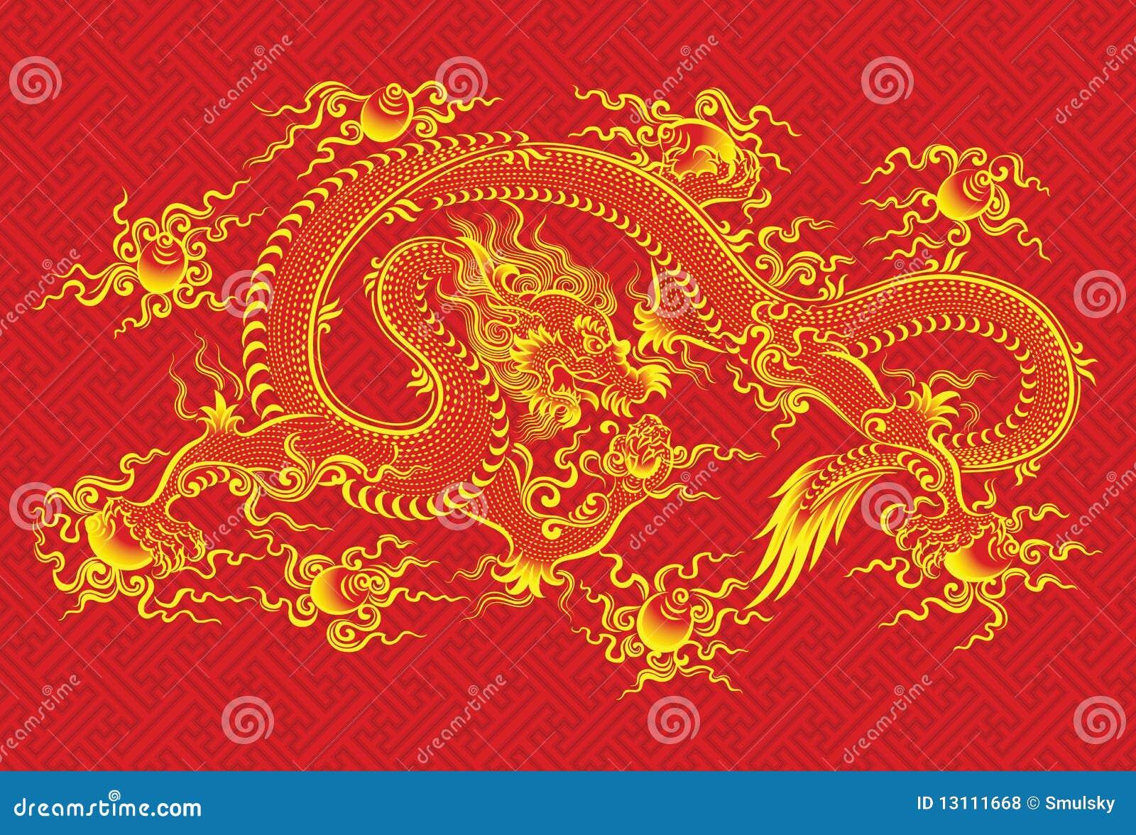 Dragón chino rojo
