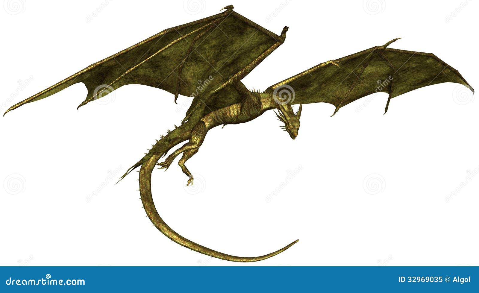 Dragón escalado verde en vuelo