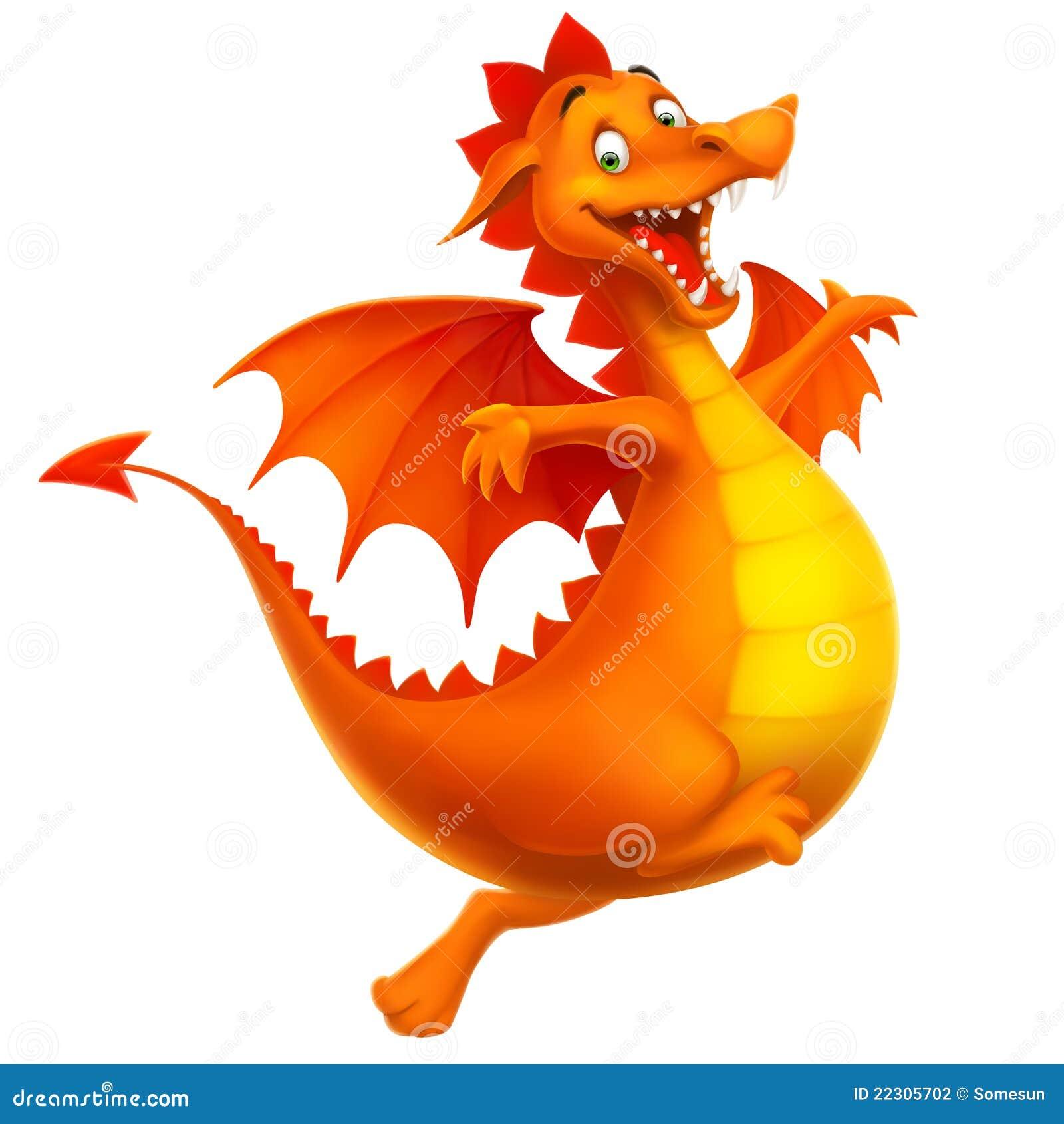 Dragón feliz sonriente lindo del vector como historieta o juguete