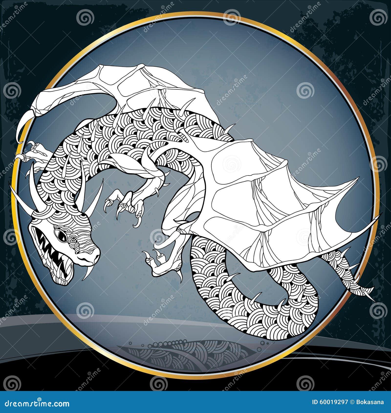 Dragón Mitológico En El Marco Redondo La Serie De Criaturas ...