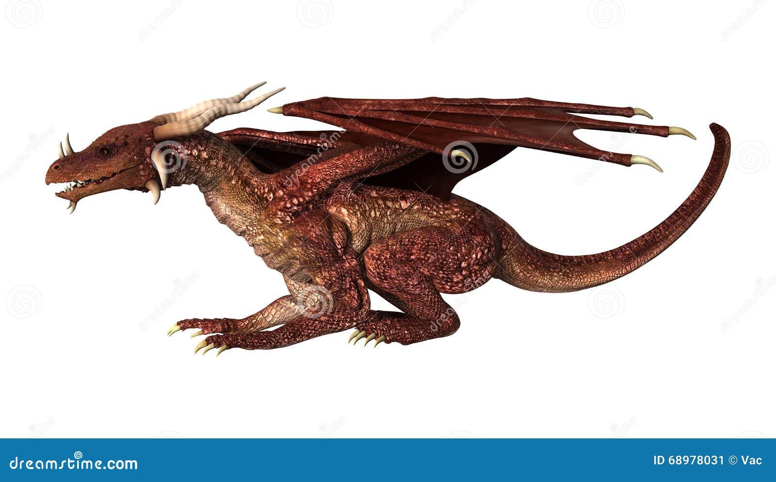 Dragón rojo de la fantasía del ejemplo 3D en blanco