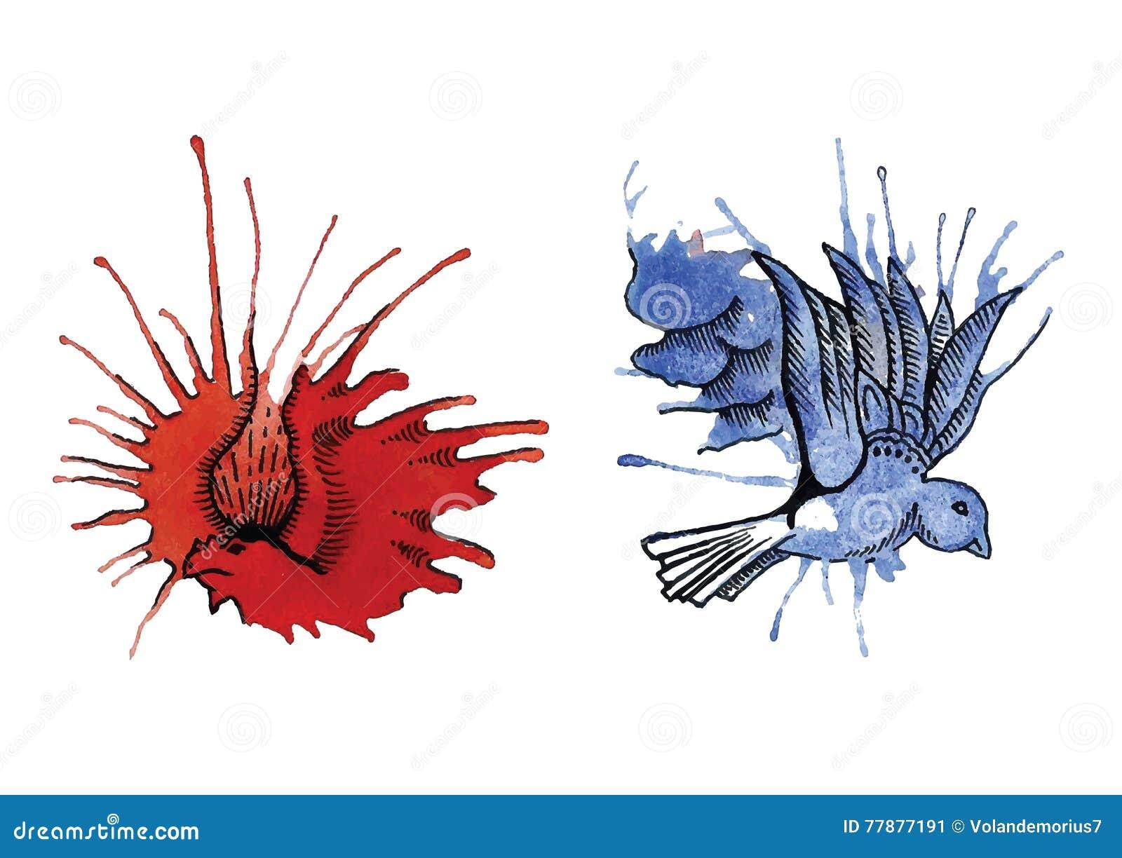 Dragón Y Paloma De Manchas Blancas /negras Ilustración del Vector