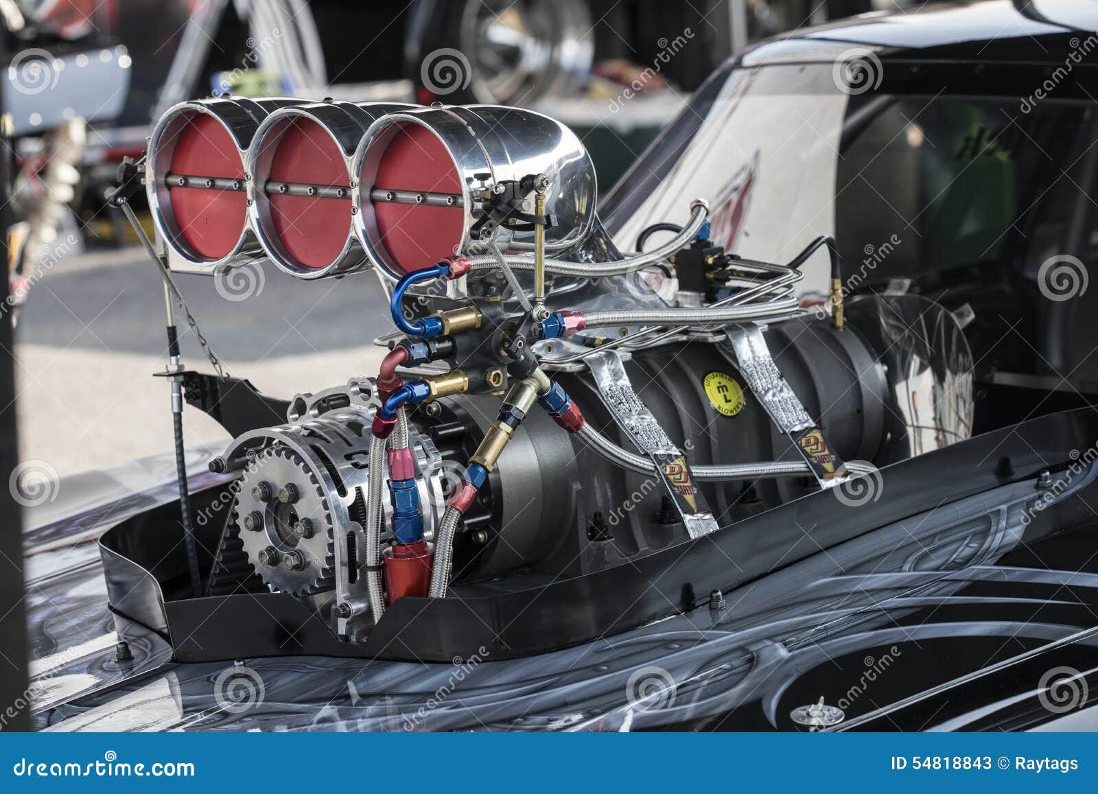 Car Engine Blower : Drag car engine editorial stock photo image
