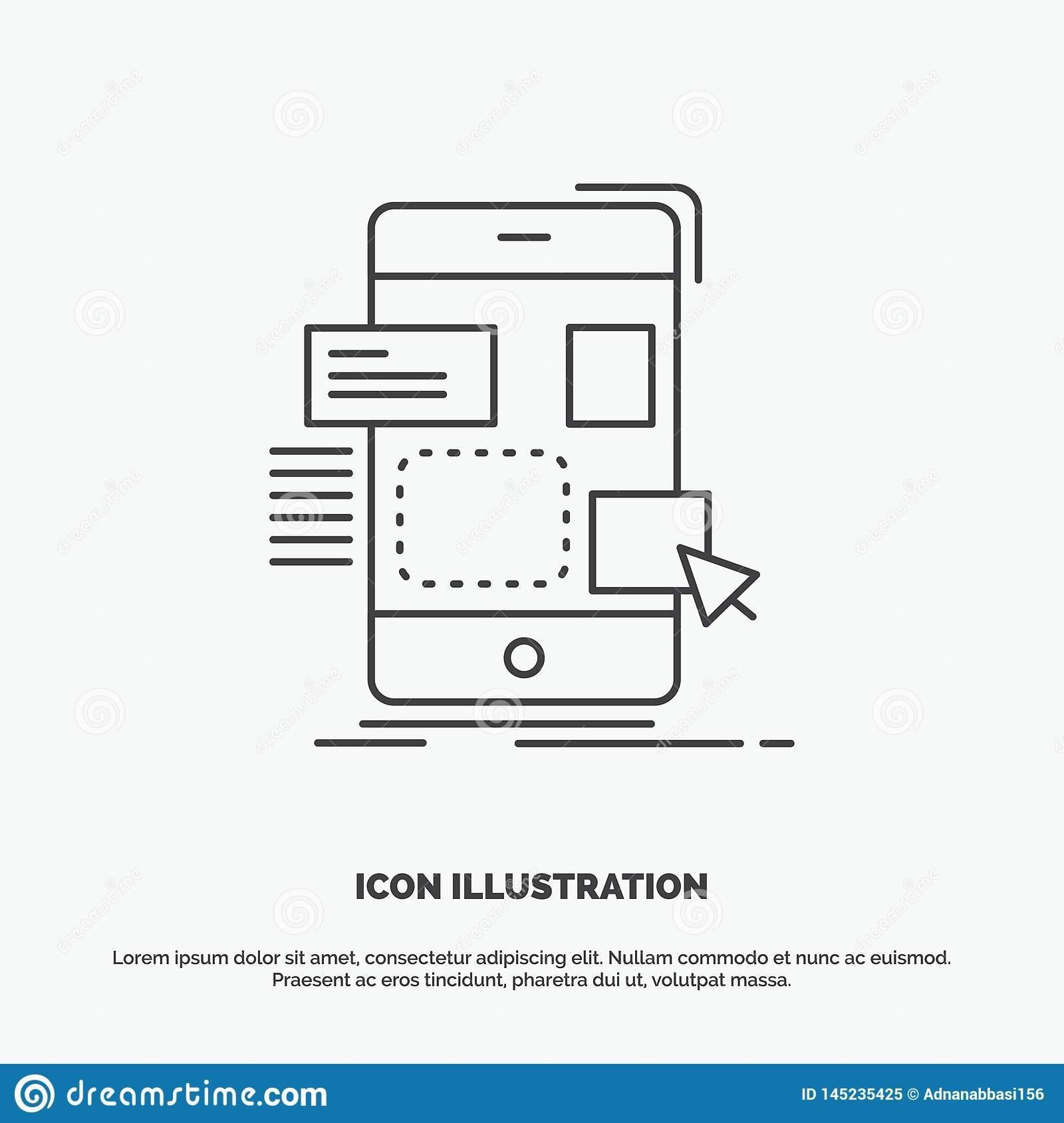 drag, mobile, design, ui, ux Icon. Line vector gray symbol for UI and UX, website or mobile application