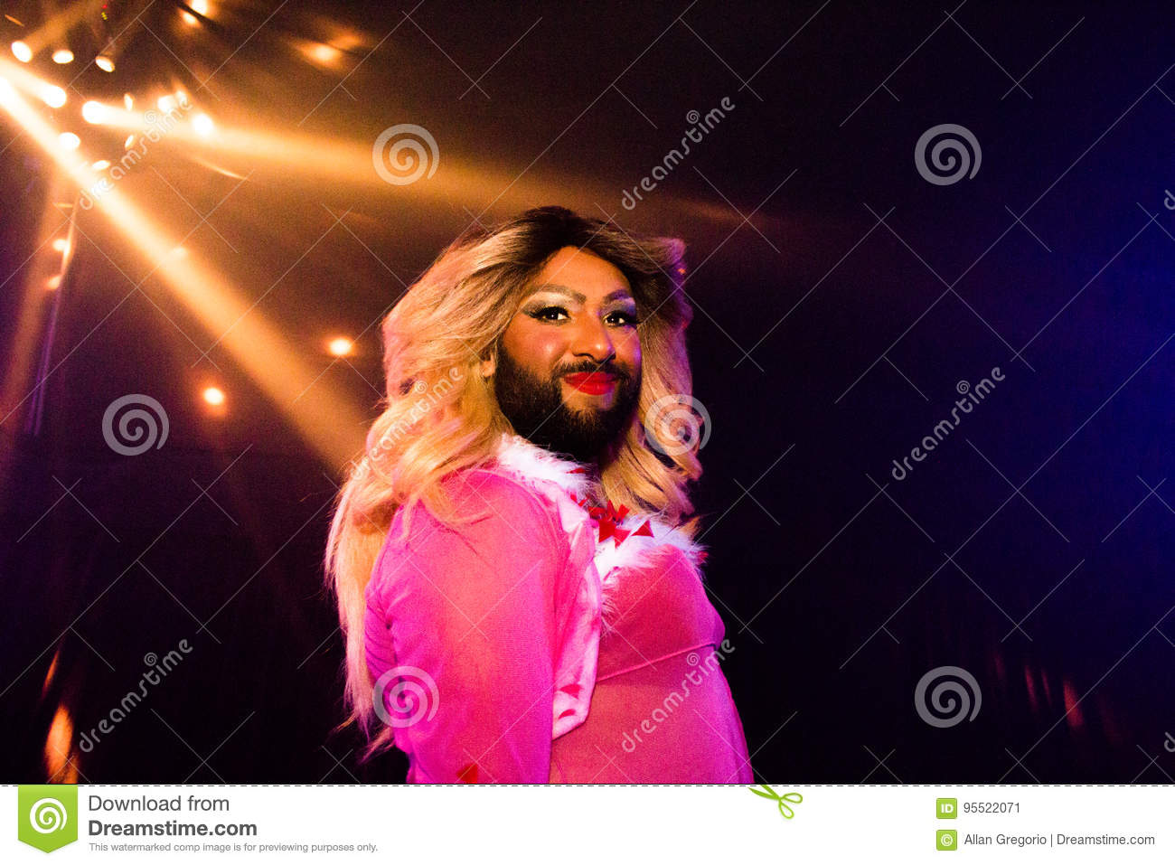 Drag queen on stage at glastonbury festival 2017 editorial.