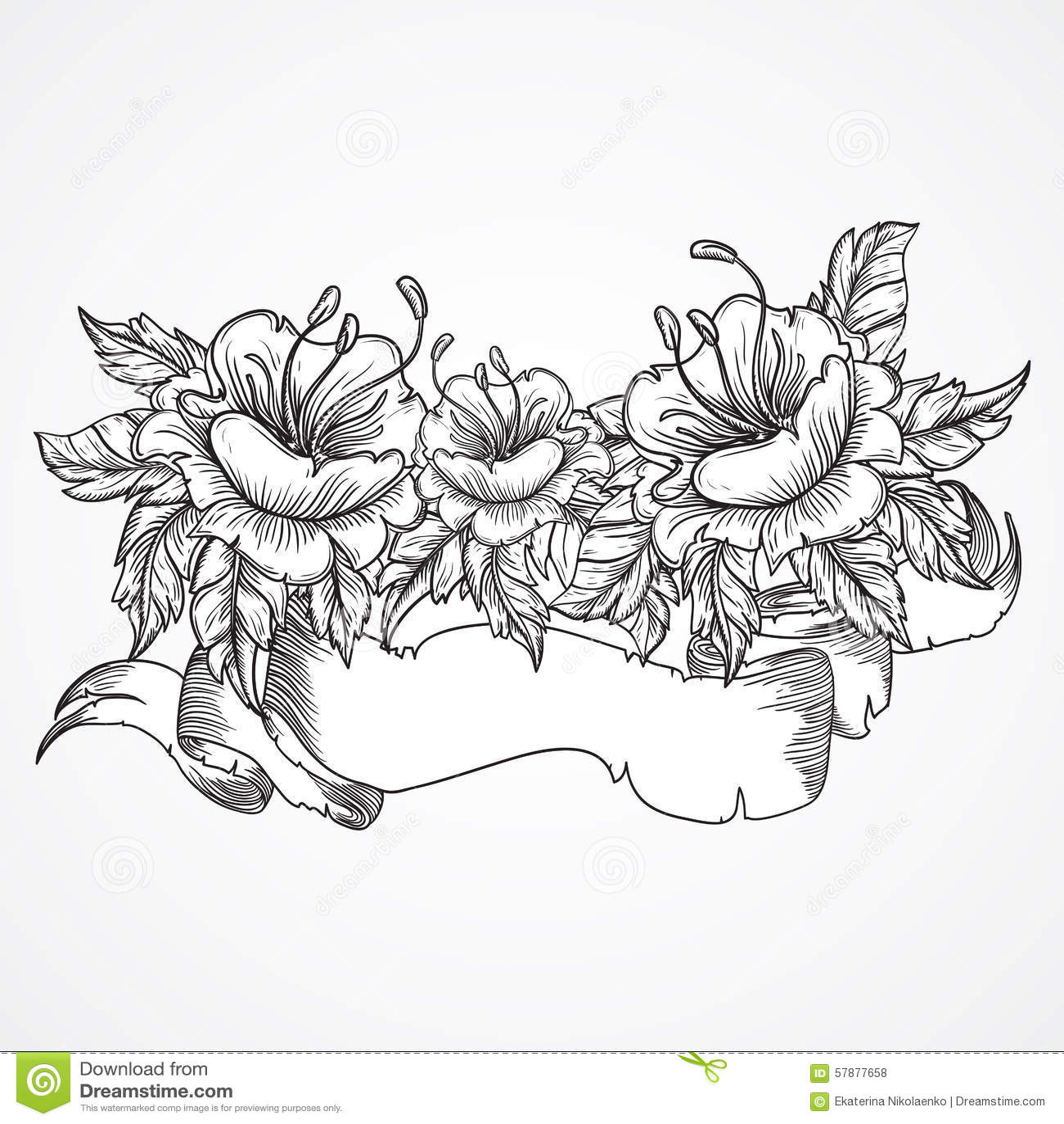 Dragen bukett för tappning blom- högt detaljerad hand av blommor och bandbanret i svartvitt Viktorianskt motiv, tatueringdesign
