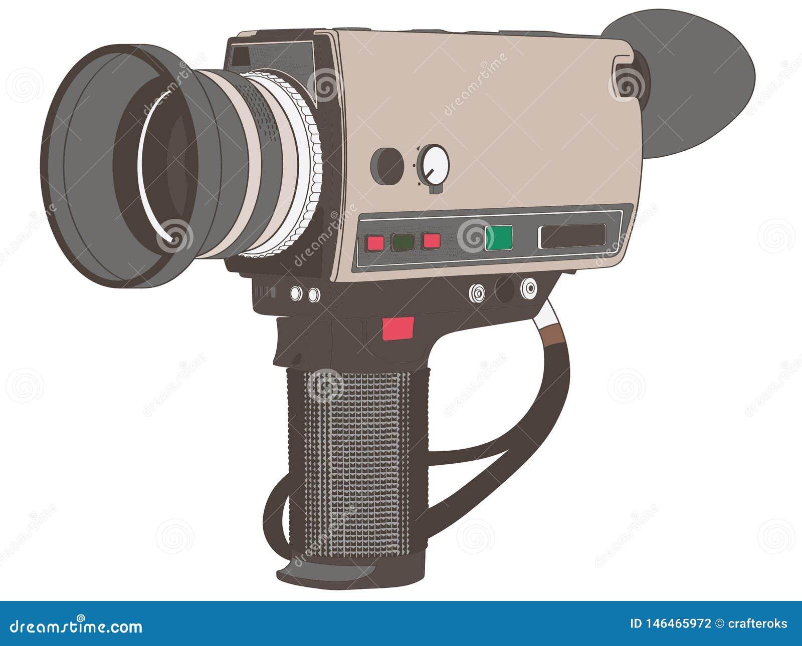 Dragen hand för tappningfilmkamera, vektor, Eps, logo, symbol, konturillustration vid crafteroks för olikt bruk Besöka min websit