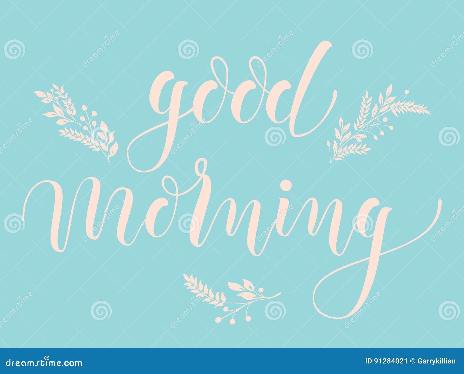 Dragen hand märka bra morgon Elegant modern handskriven kalligrafi med blom- beståndsdelar