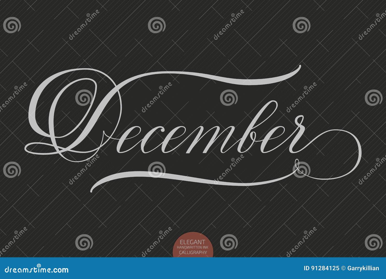 Dragen hand märka December Elegant modern handskriven kalligrafi Vektorfärgpulverillustration
