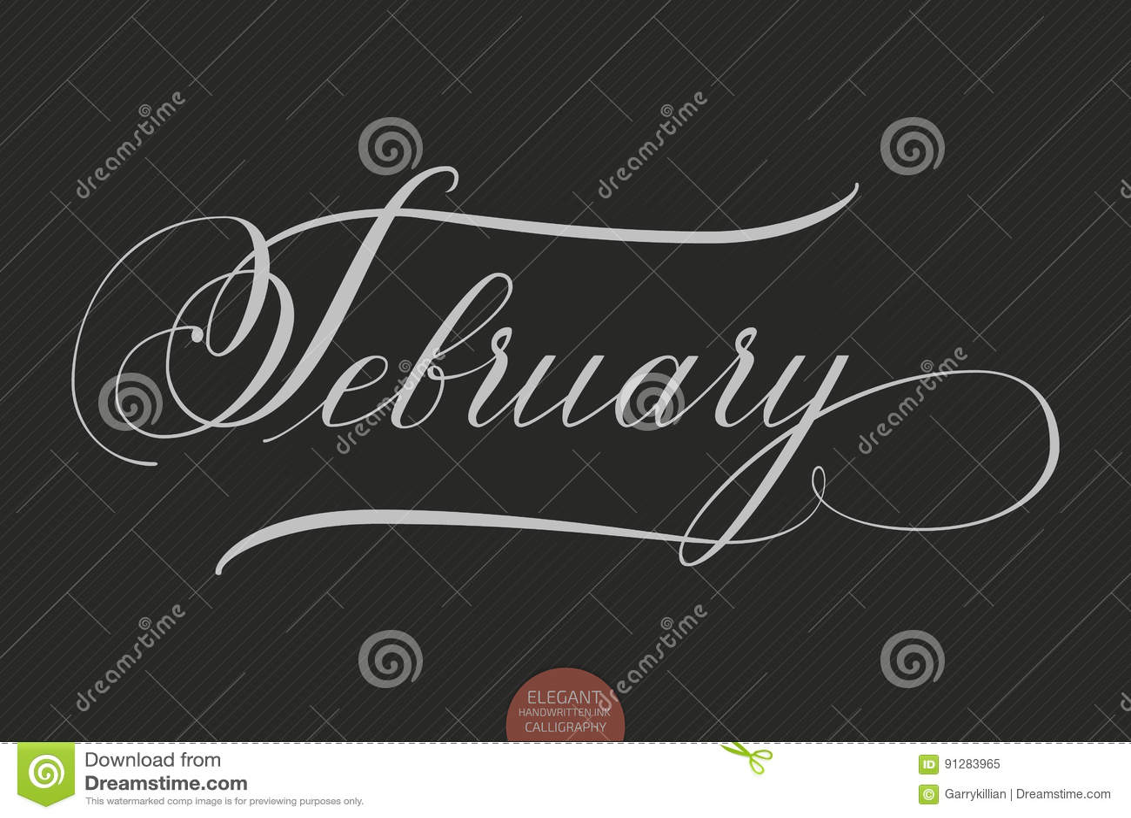 Dragen hand märka Februari Elegant modern handskriven kalligrafi Vektorfärgpulverillustration
