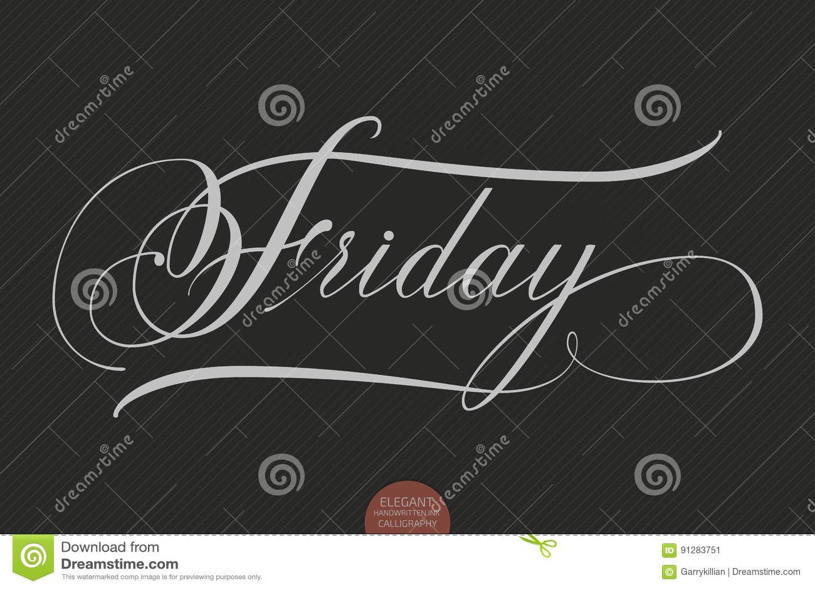 Dragen hand märka fredag Elegant modern handskriven kalligrafi Vektorfärgpulverillustration