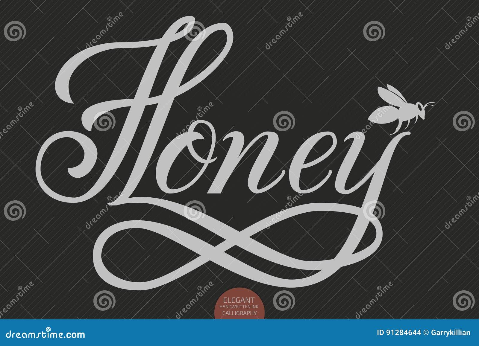 Dragen hand märka honung Elegant modern handskriven kalligrafi Vektorfärgpulverillustration