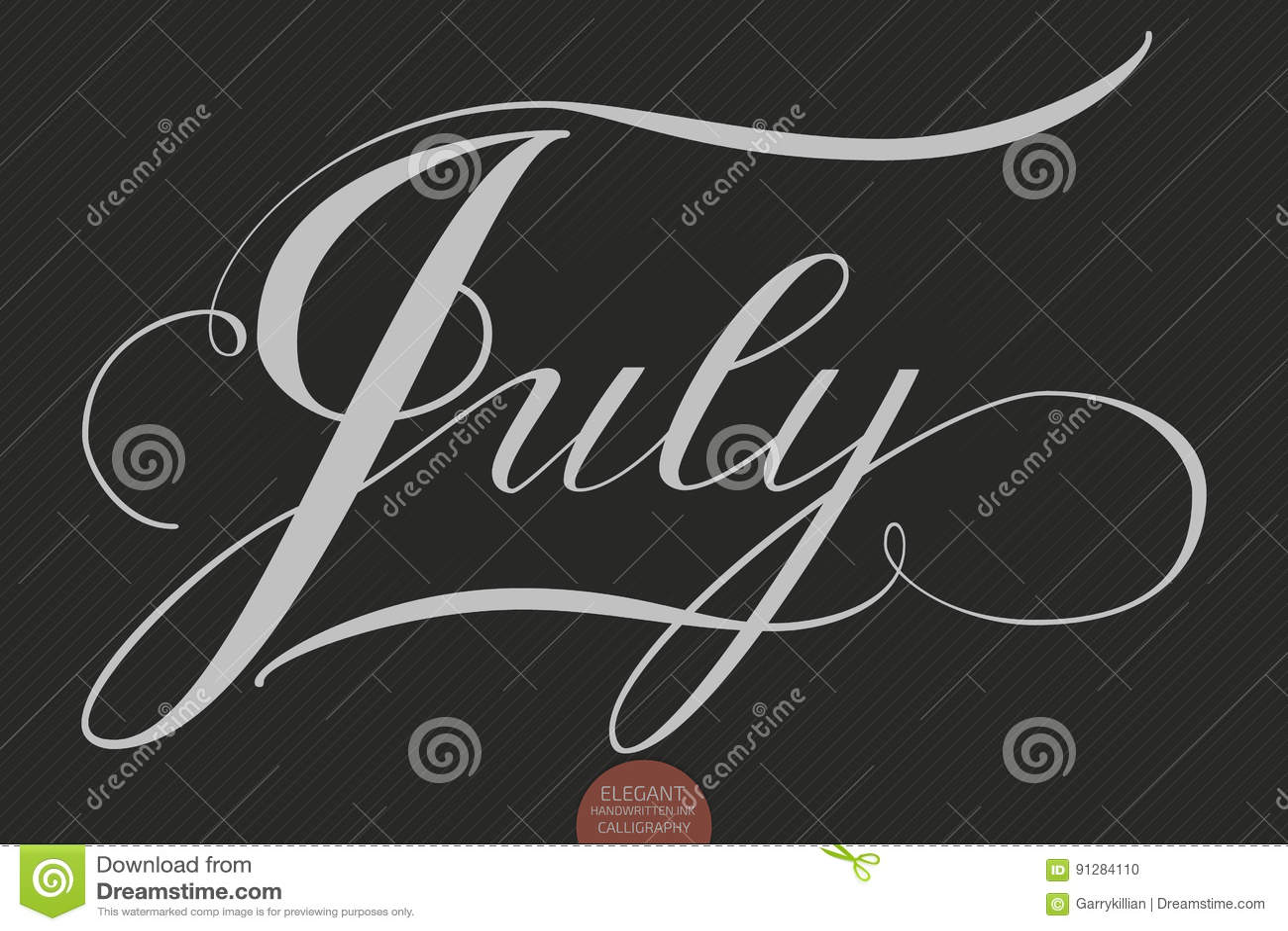 Dragen hand märka Juli Elegant modern handskriven kalligrafi Vektorfärgpulverillustration