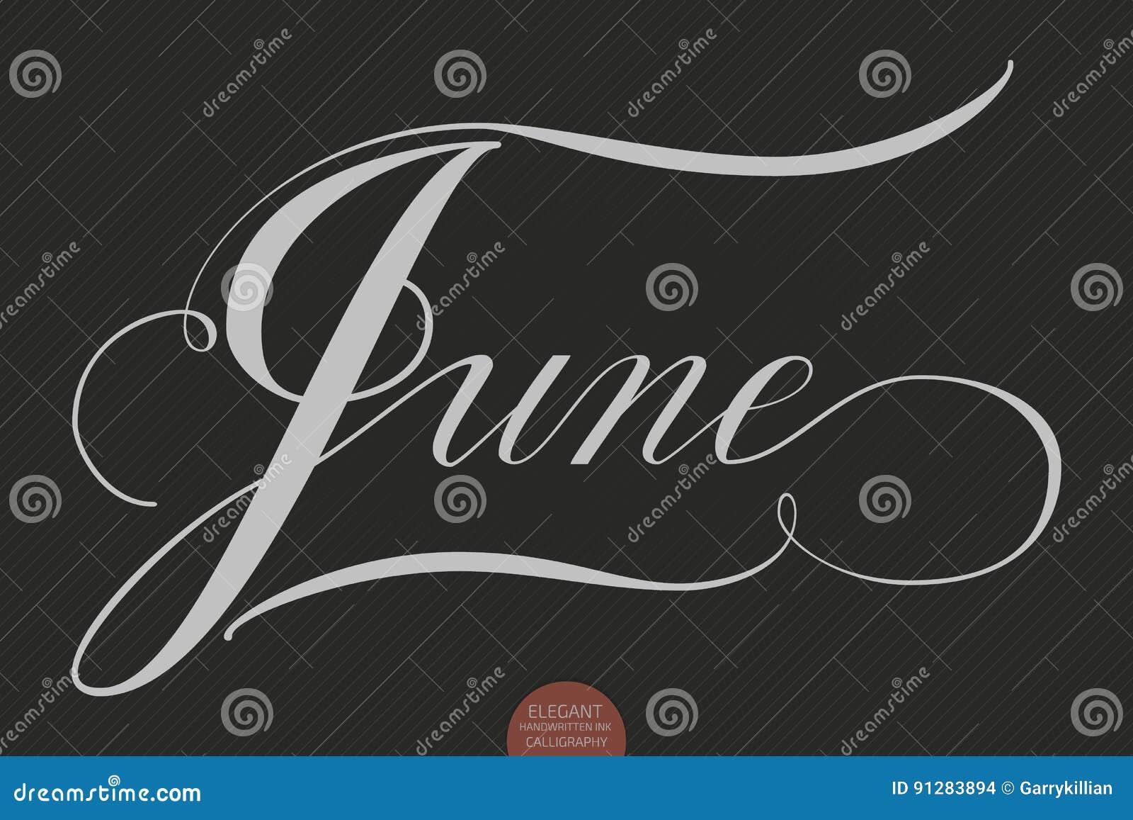 Dragen hand märka Juni Elegant modern handskriven kalligrafi Vektorfärgpulverillustration