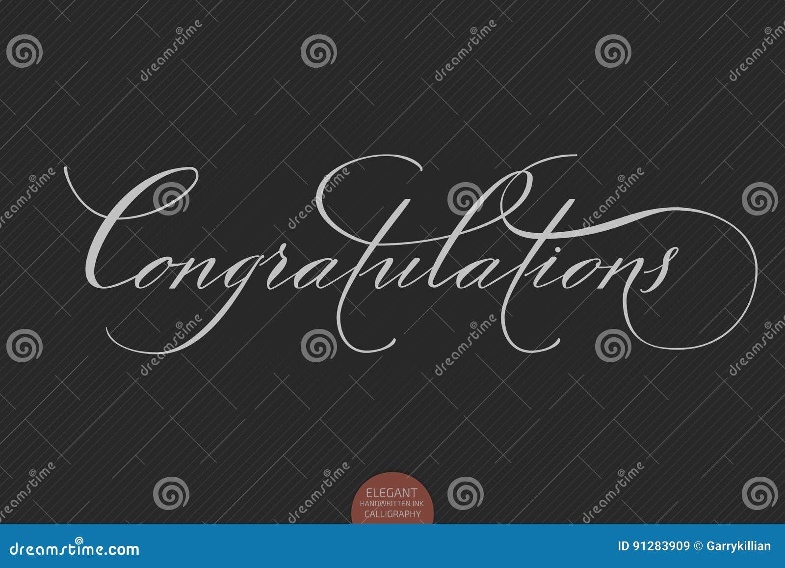 Dragen hand märka lyckönskan Elegant modern handskriven kalligrafi Vektorfärgpulverillustration