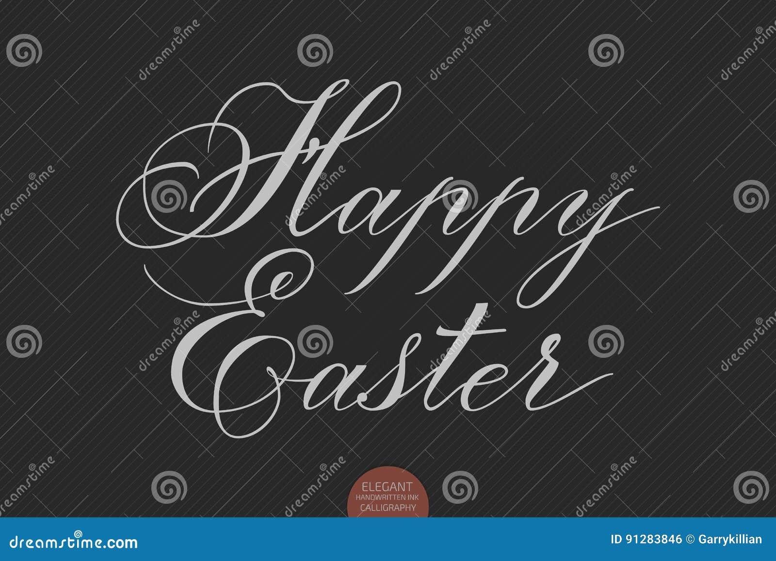 Dragen hand märka lycklig påsk Elegant modern handskriven kalligrafi Vektorfärgpulverillustration