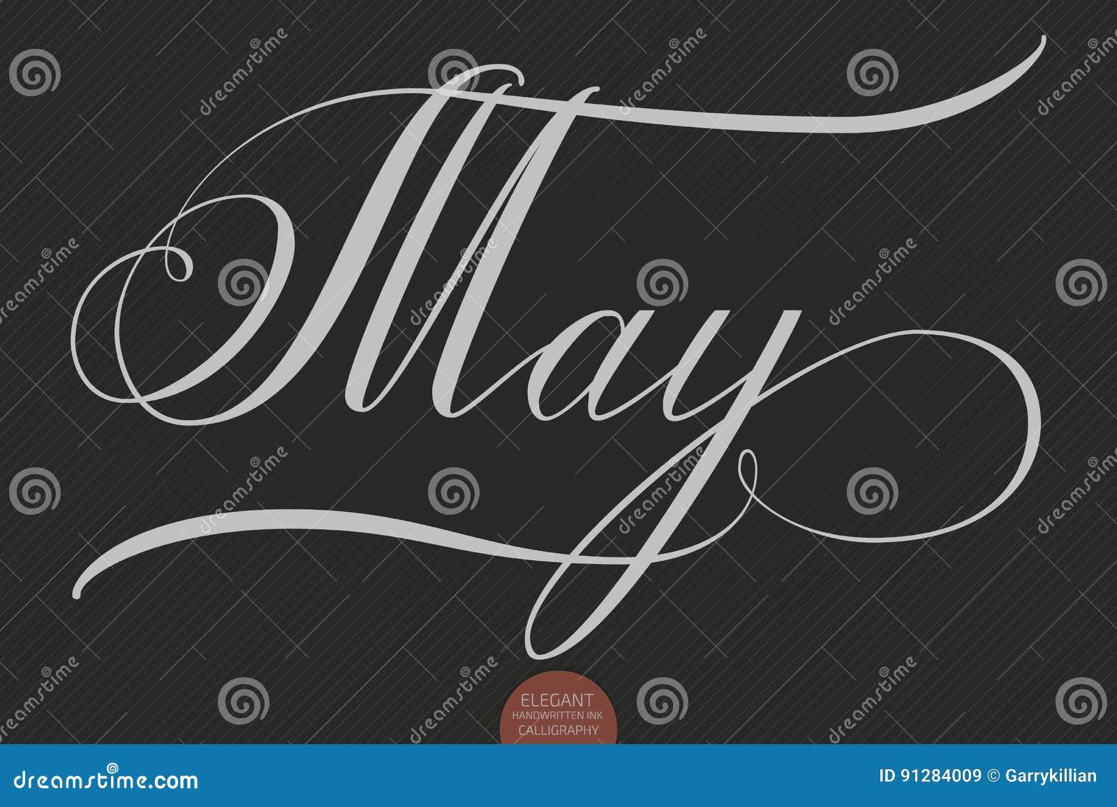 Dragen hand märka Maj Elegant modern handskriven kalligrafi Vektorfärgpulverillustration
