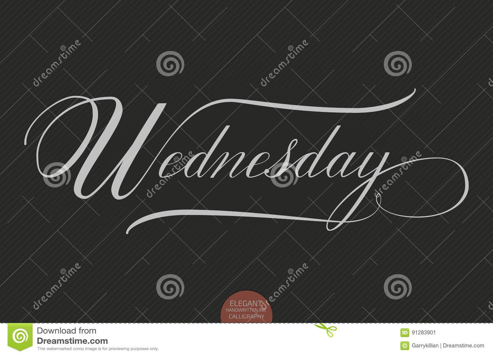 Dragen hand märka onsdag Elegant modern handskriven kalligrafi Vektorfärgpulverillustration