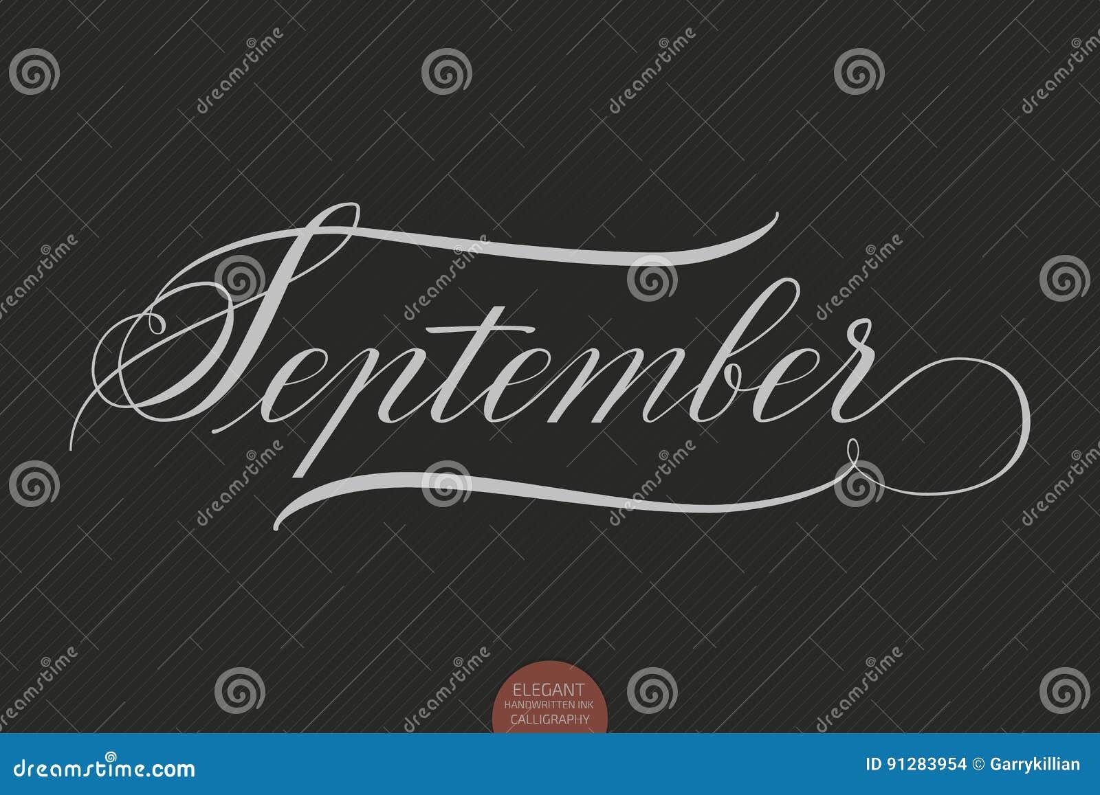 Dragen hand märka September Elegant modern handskriven kalligrafi Vektorfärgpulverillustration