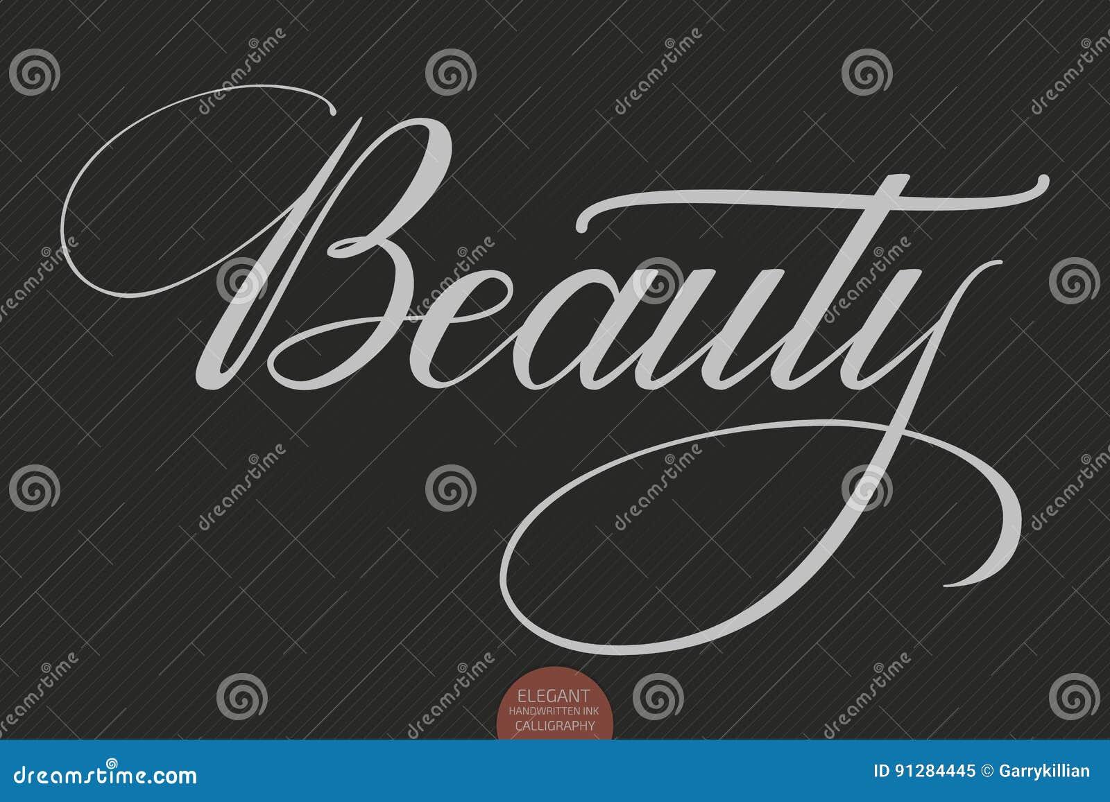 Dragen hand märka skönhet Elegant modern handskriven kalligrafi Vektorfärgpulverillustration