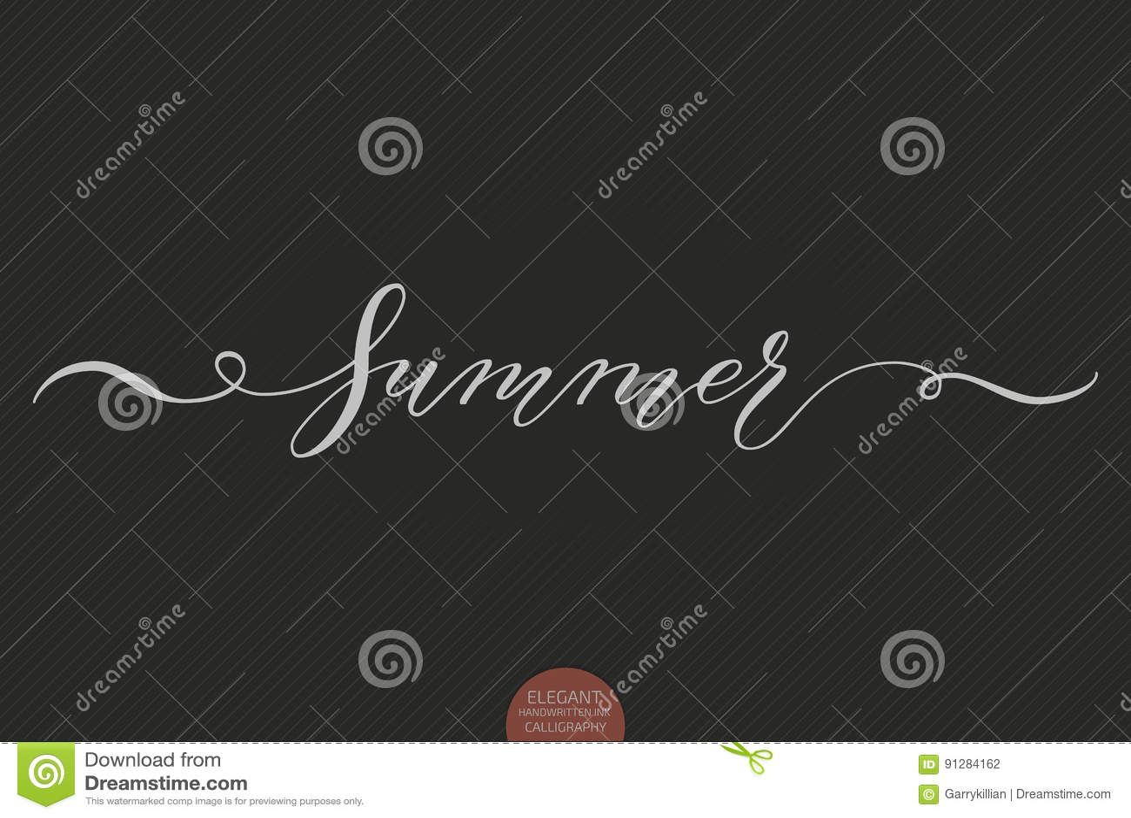 Dragen hand märka sommar Elegant modern handskriven kalligrafi Vektorfärgpulverillustration