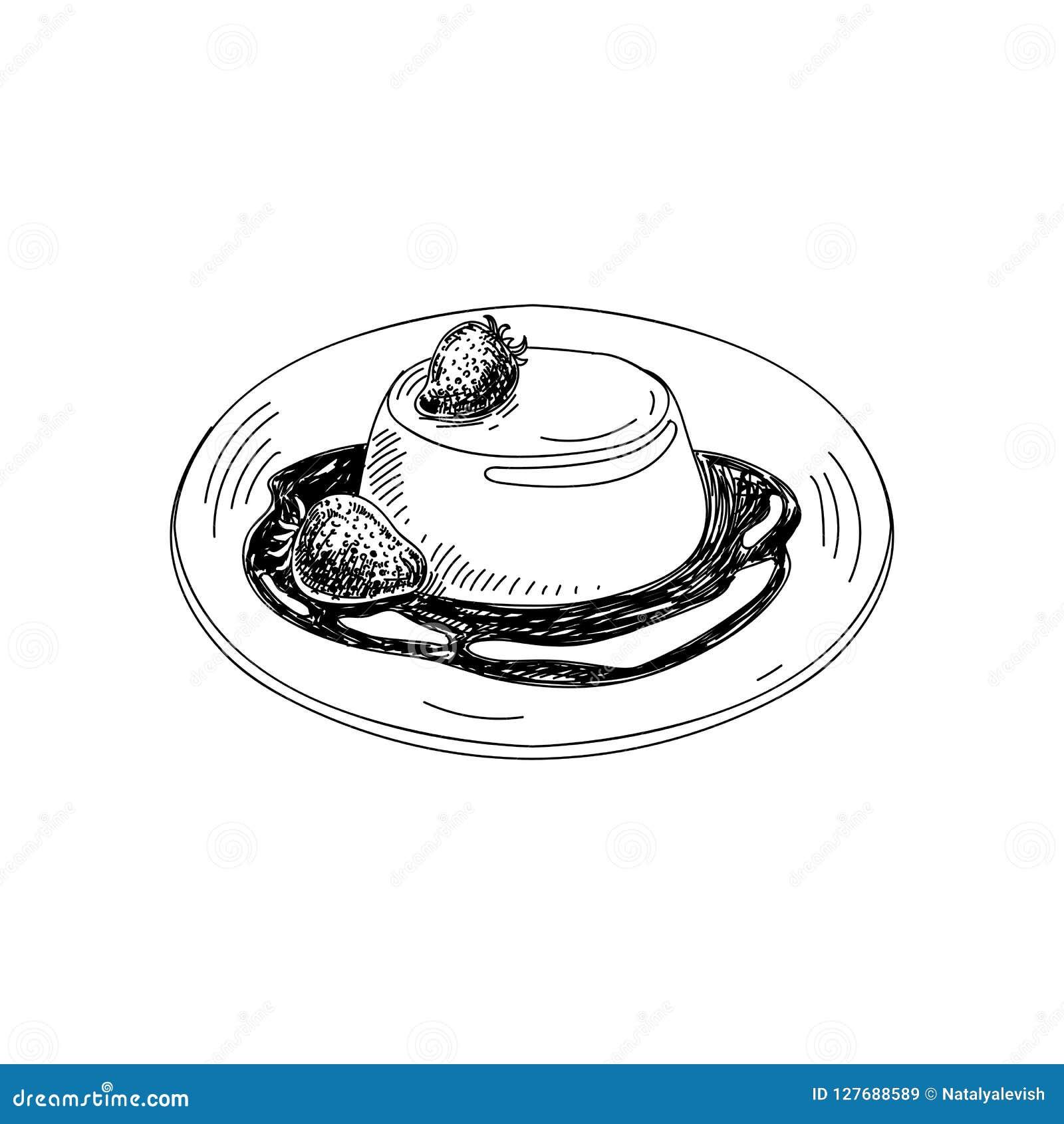 Dragen pannacotta för vektor hand Disk av italiensk kokkonst