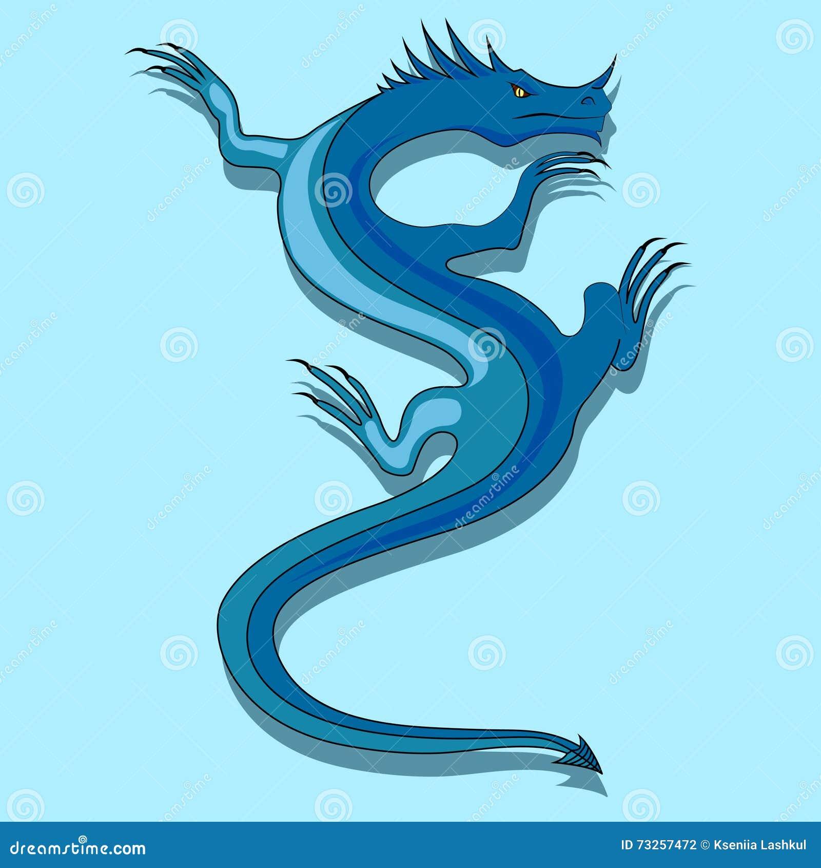 Drago Blu Illustrazione Vettoriale Illustrazione Di Coldblooded