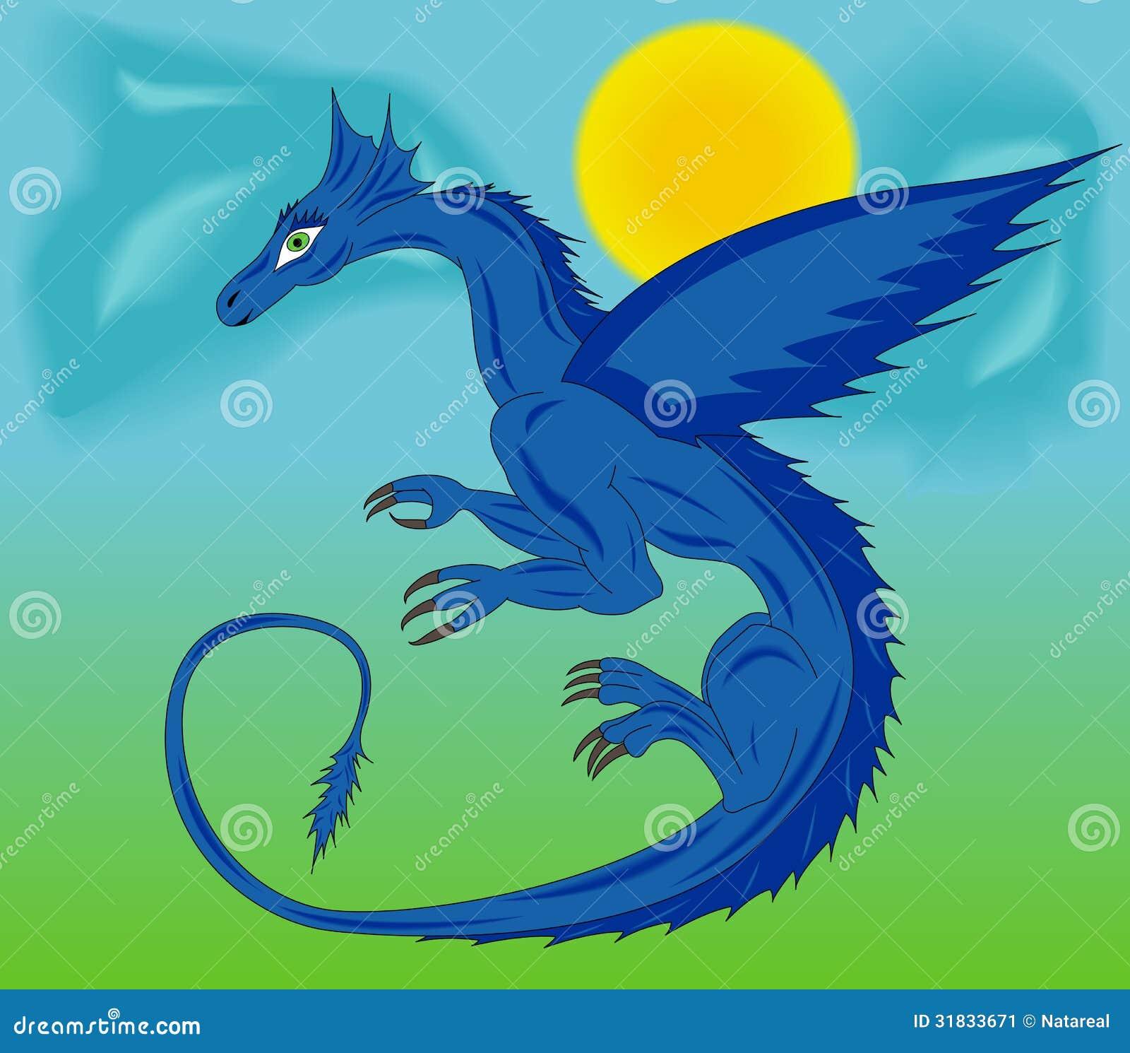 Drago Blu Nel Cielo Illustrazione Vettoriale Illustrazione Di