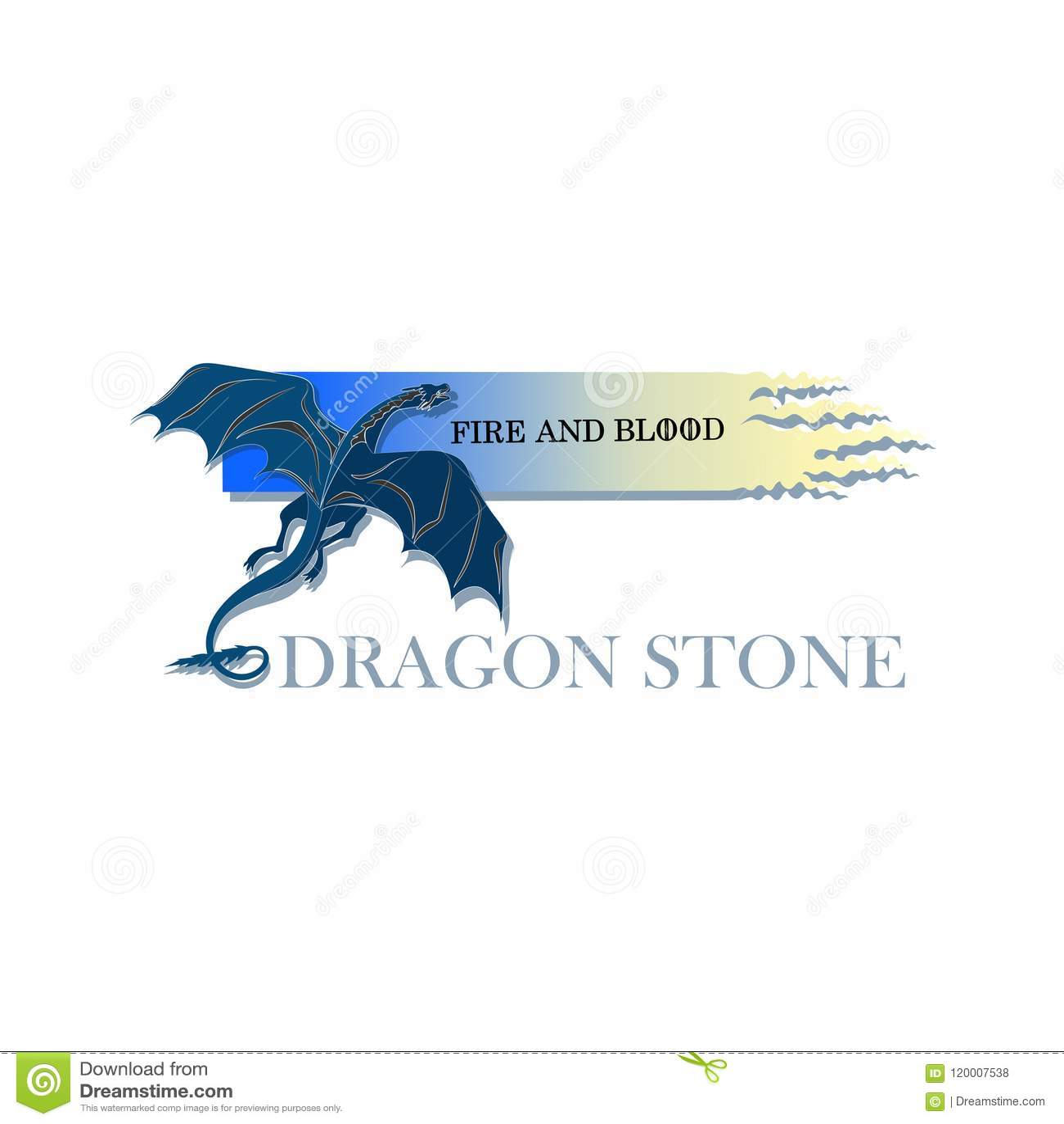 Drago Blu Pietra Del Drago Illustrazione Vettoriale Illustrazione