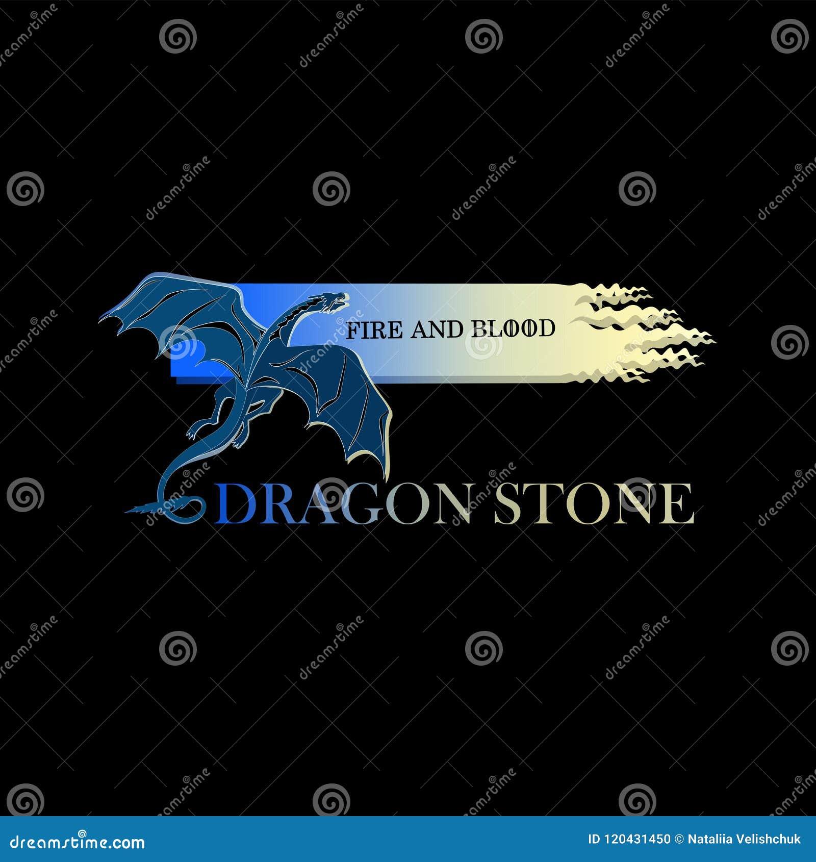 Drago Blu Su Un Fondo Nero Pietra Del Drago Animale Mythical