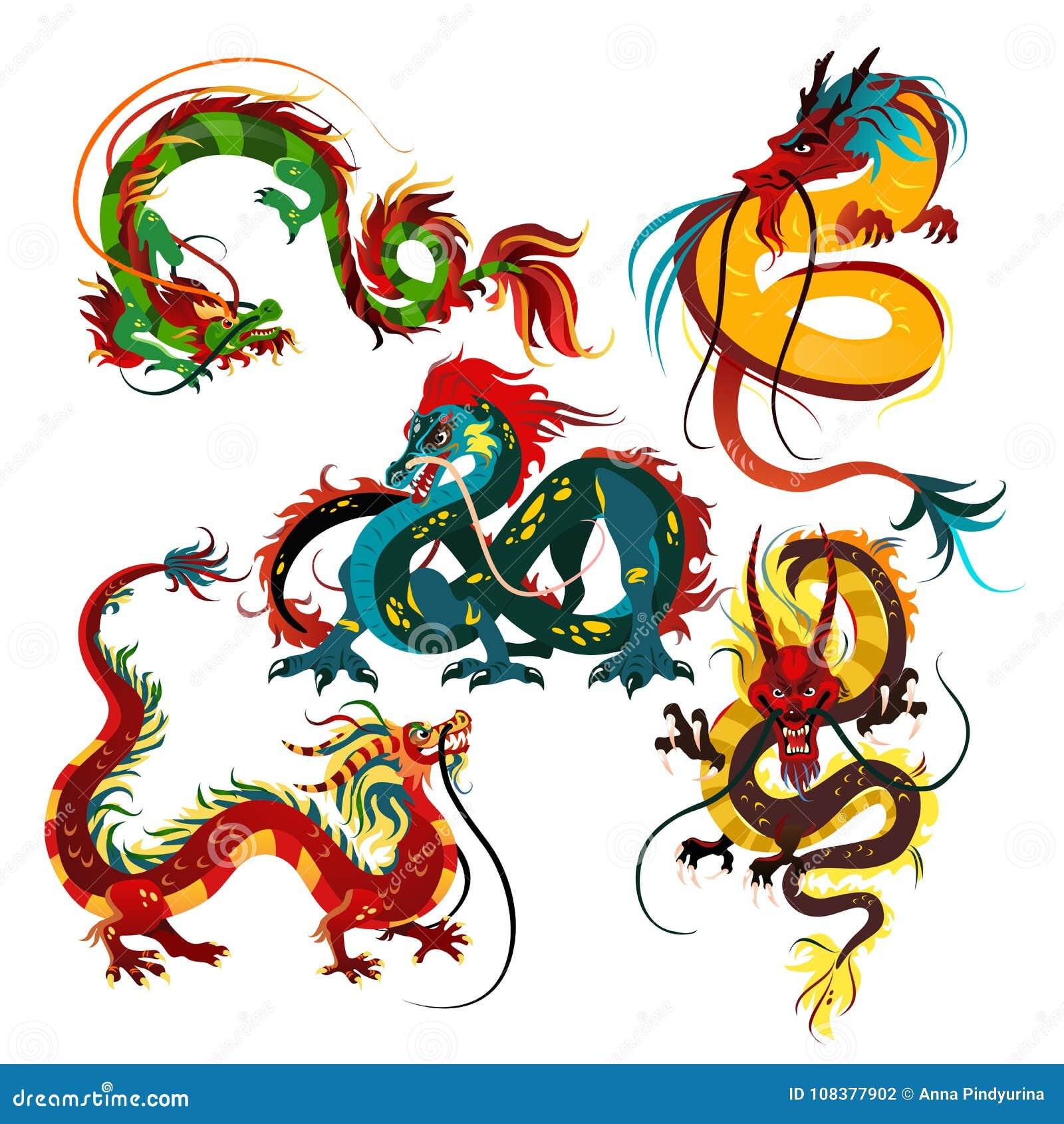 Drago del cinese tradizionale, simbolo antico dell asiatico o cultura della porcellana, decorazione per la celebrazione del nuovo