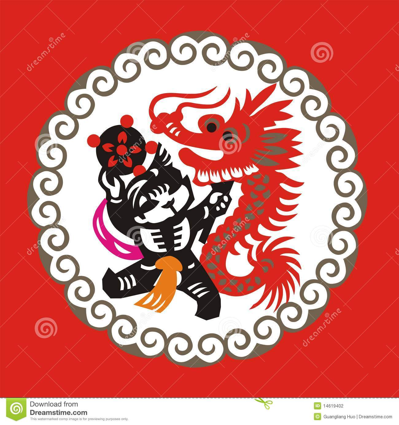 chinese paper cutting art chinese new year dragon dance