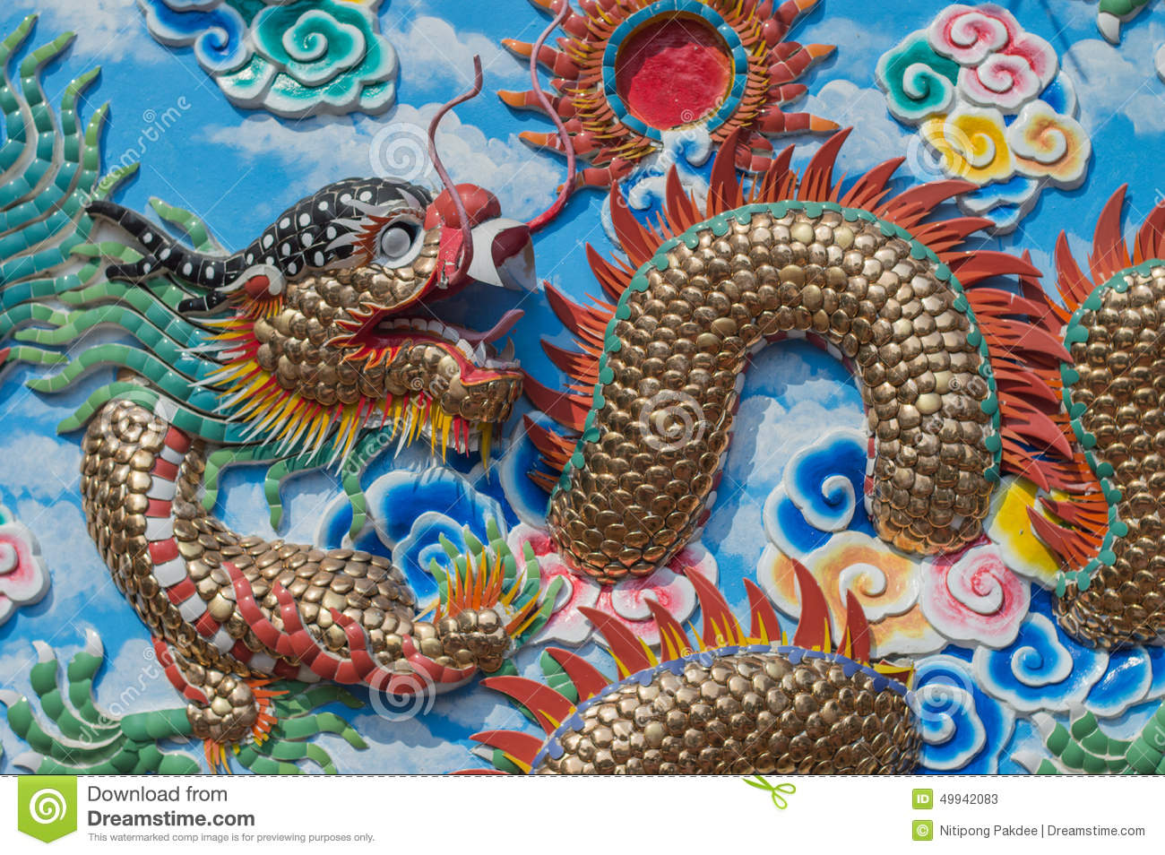 Mural painting dragon art wall and wallpaper background for Chinese mural wallpaper