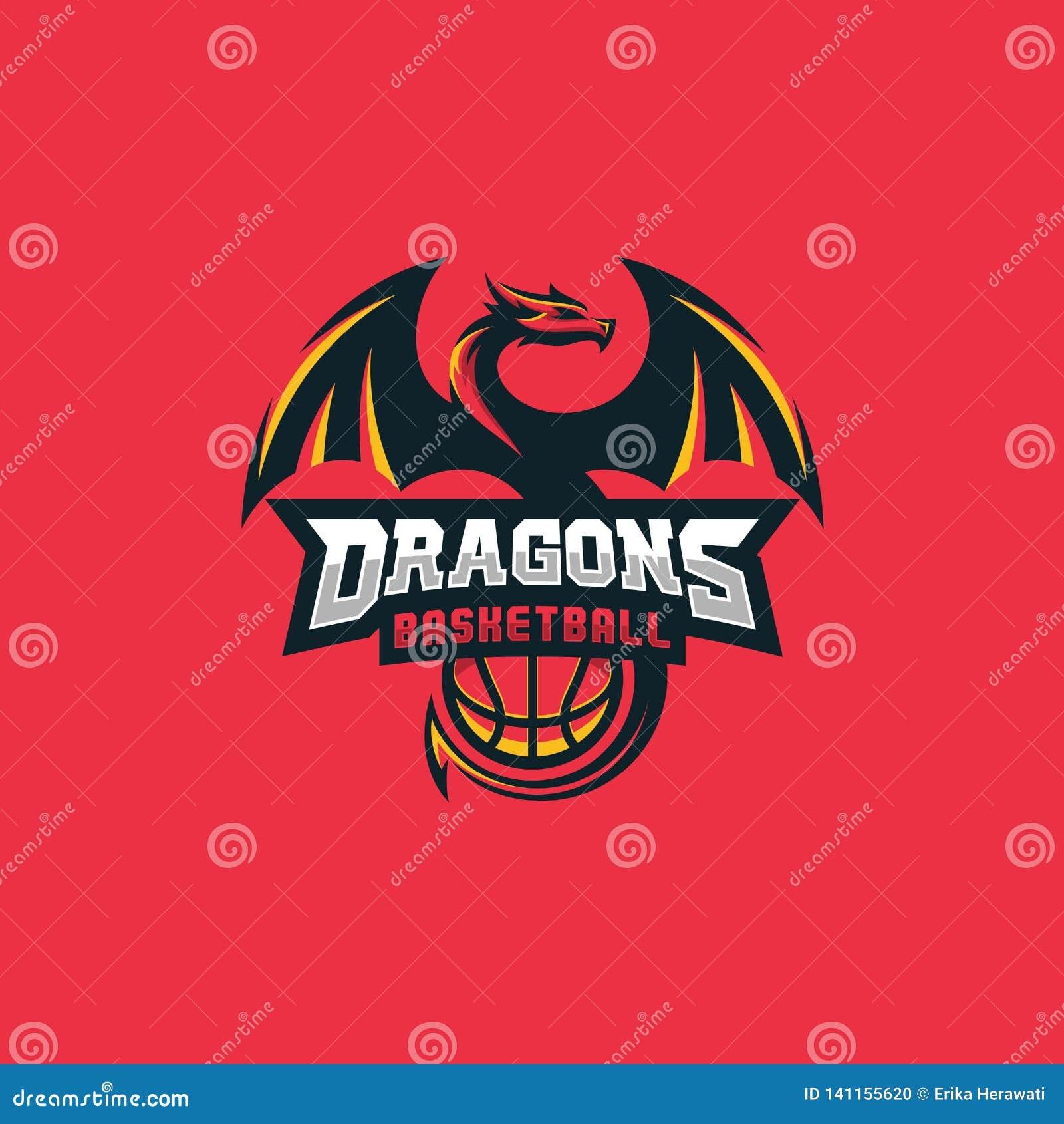 Dragon Basketball Design-Konzept Illustrations-Vektor-Schablone