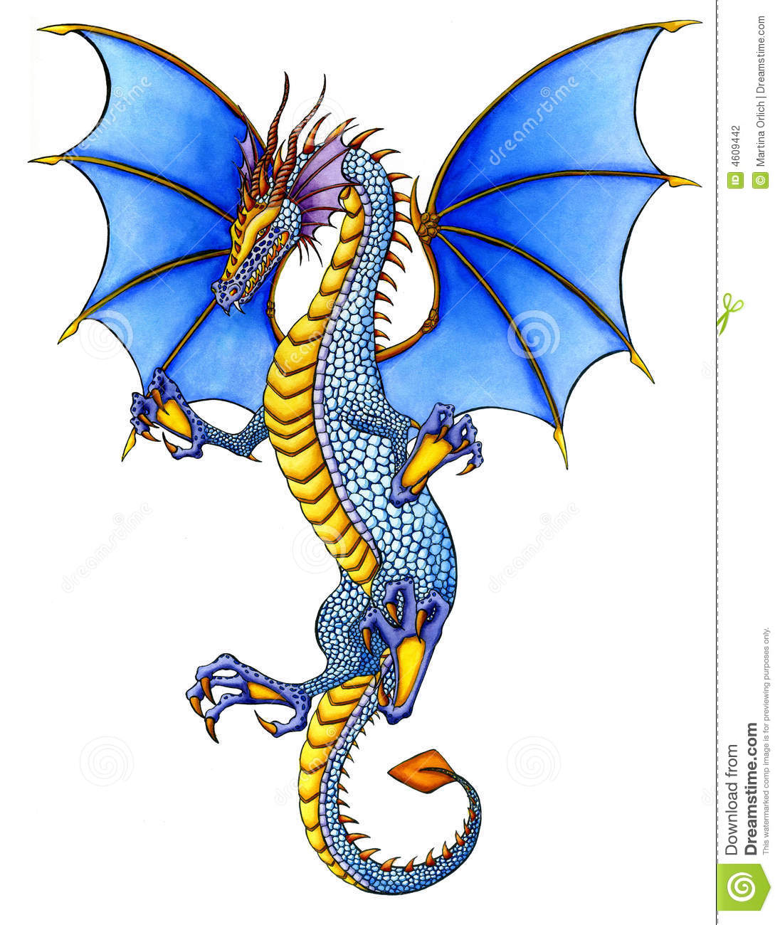 Dragon bleu illustration stock illustration du isolement - Modele dessin dragon ...