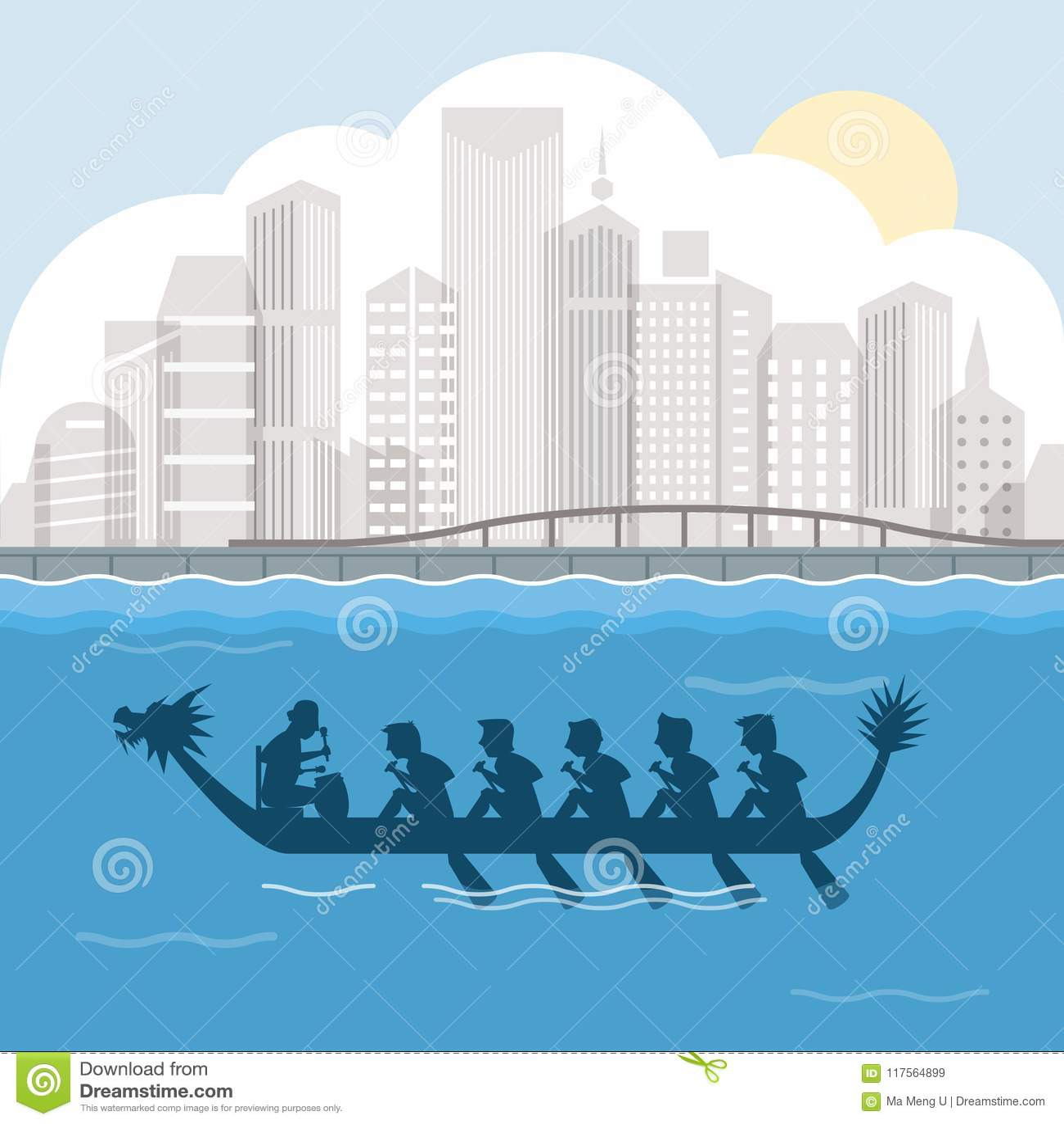 Dragon boat behind harbour city scene vector illustration