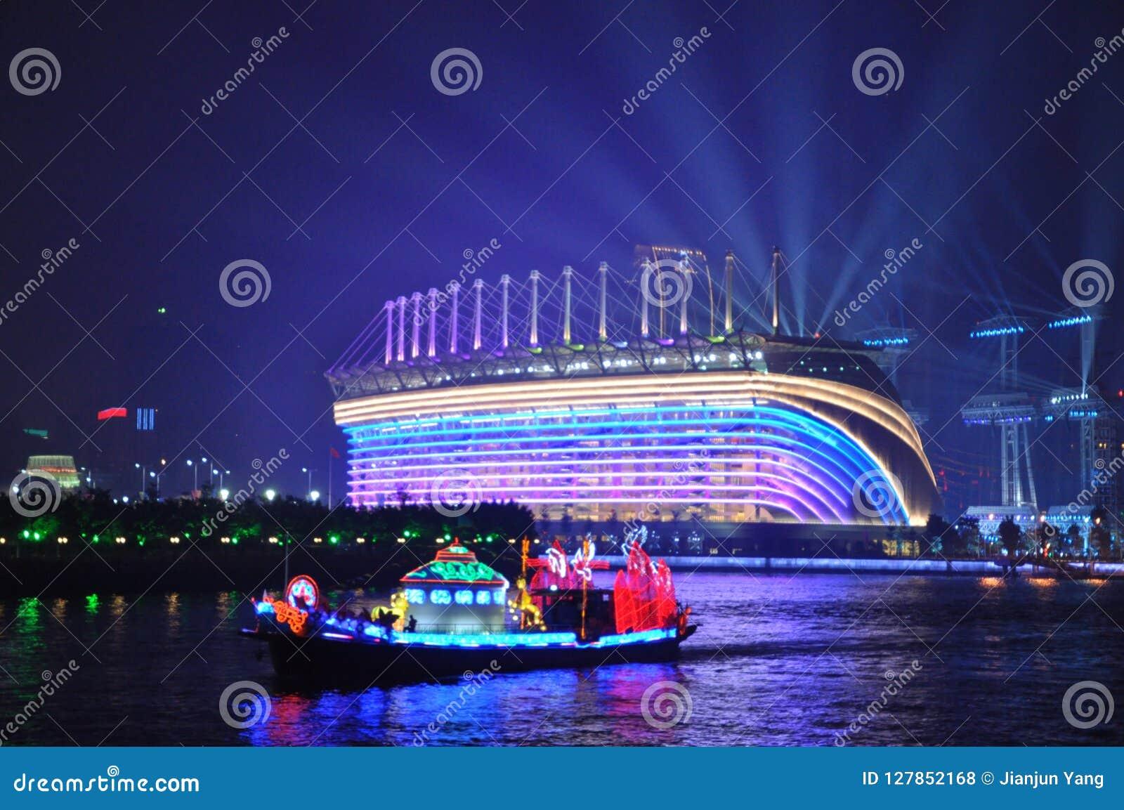 Haixinsha Stadium and Dragon Boat in Guangzhou Canton China
