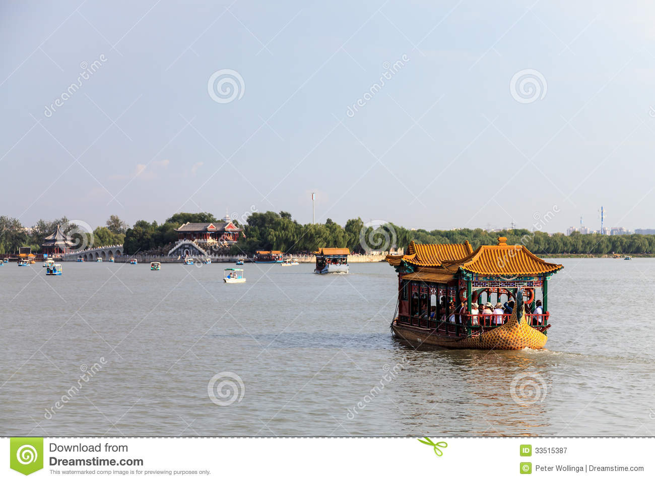 Dragon boat on lake Kunming at summer palace, Beijing