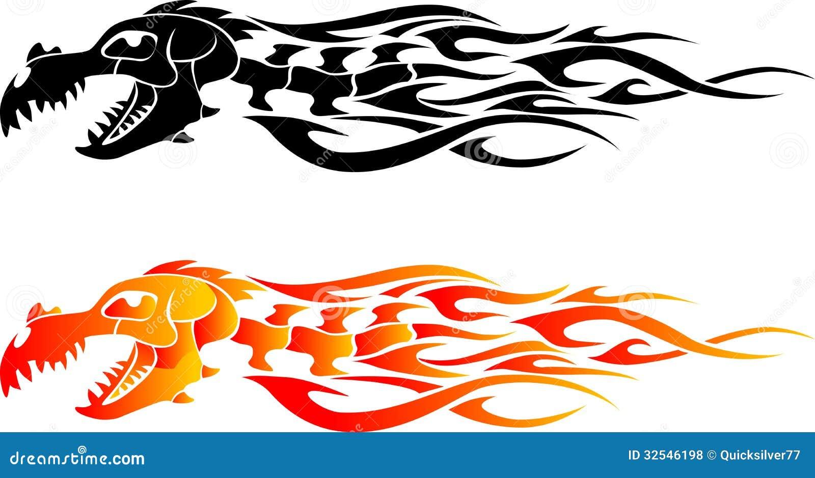 Dragon Bone Flame Tattoo Stock Illustration. Image Of