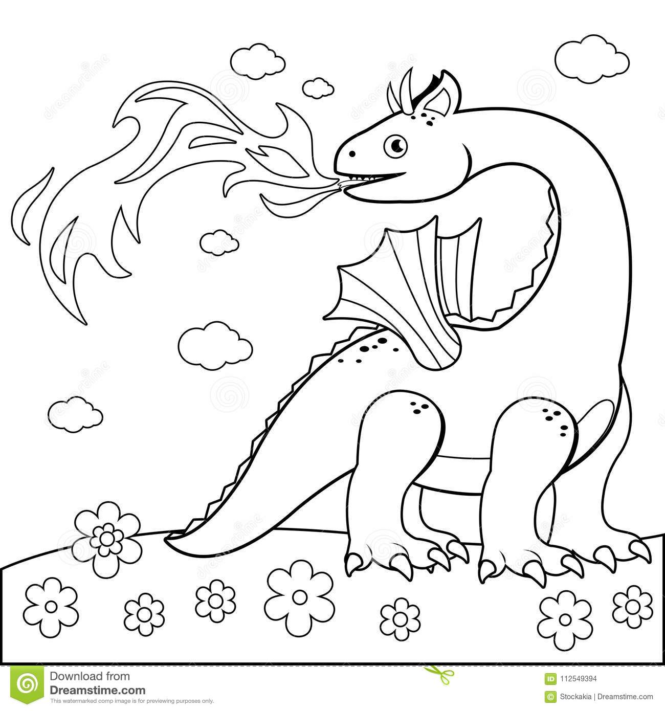 Fire Breathing Dragon. Black And White Coloring Book Page Stock ...