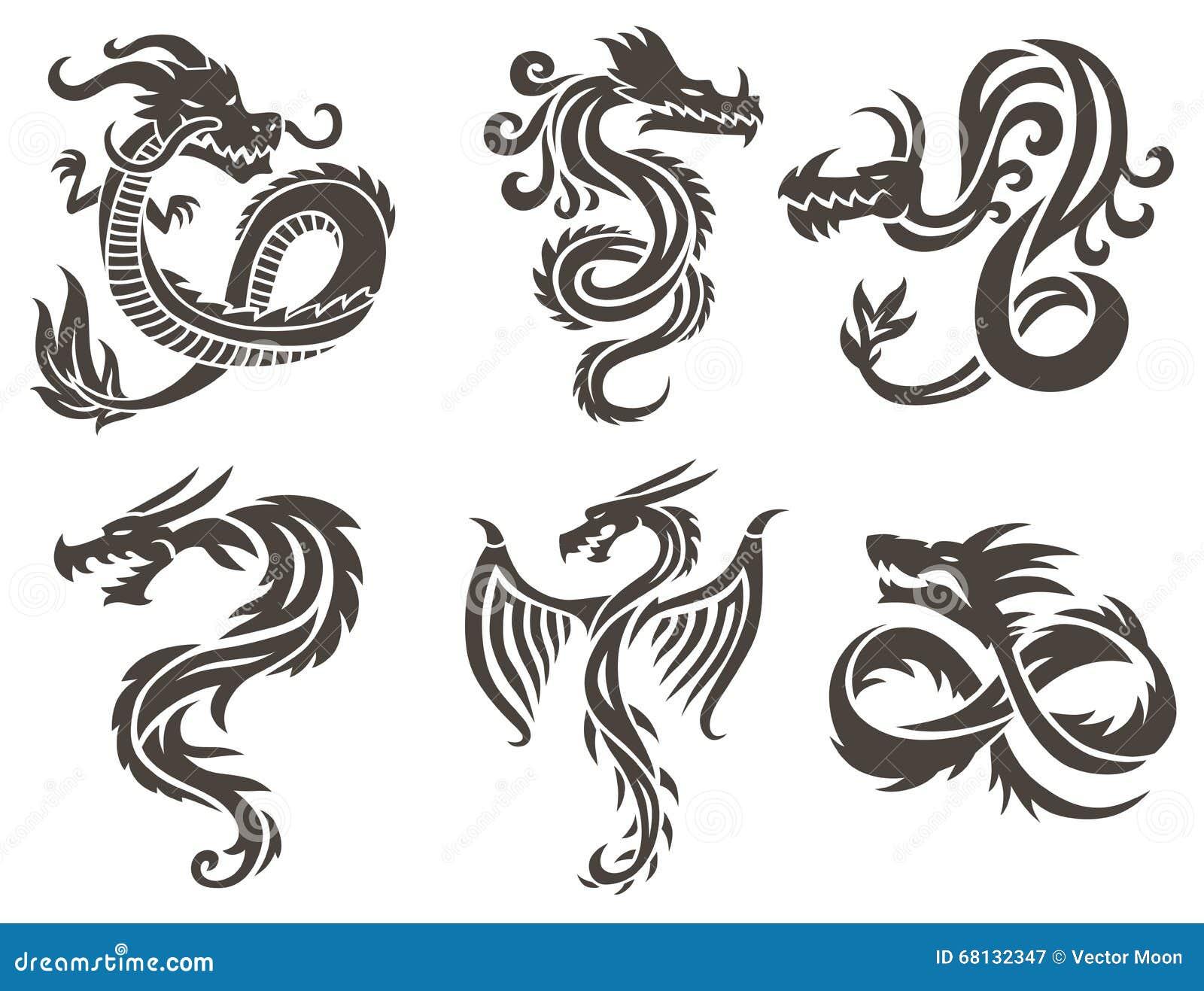 Dragon Chinois Sur L Illustration Blanche De Vecteur De Fond